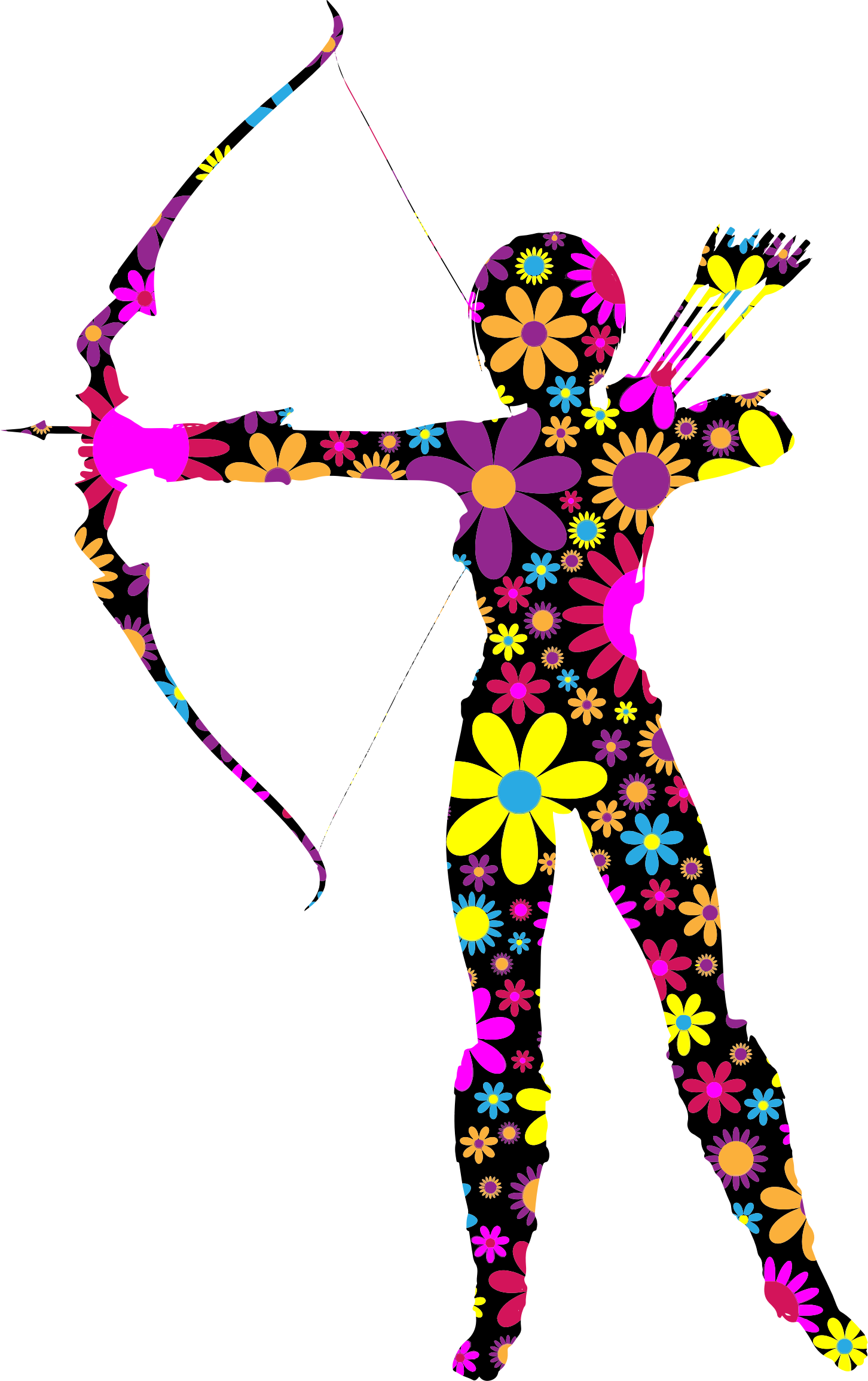 Floral Amazon Archer Silhouette by GDJ