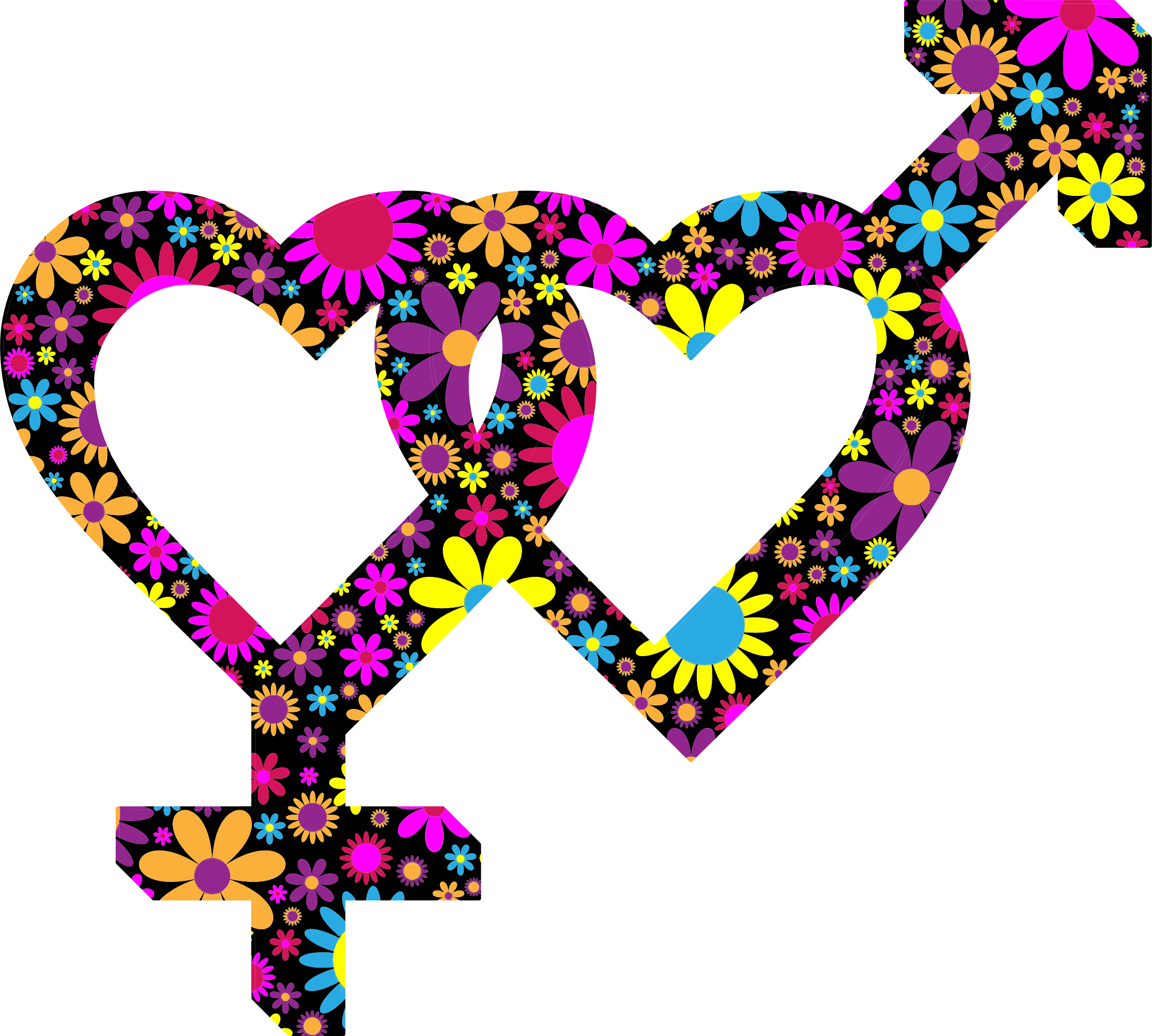 Floral 3d Isometric Intertwined Gender Hearts by GDJ