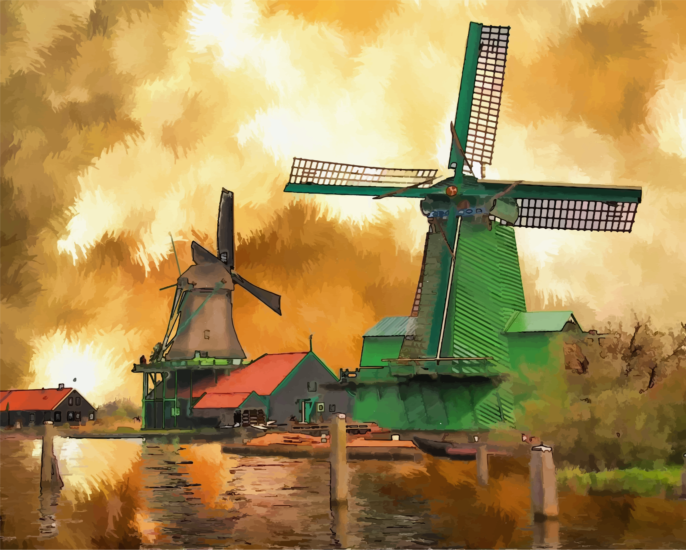 Surreal Windmills Landscape by GDJ