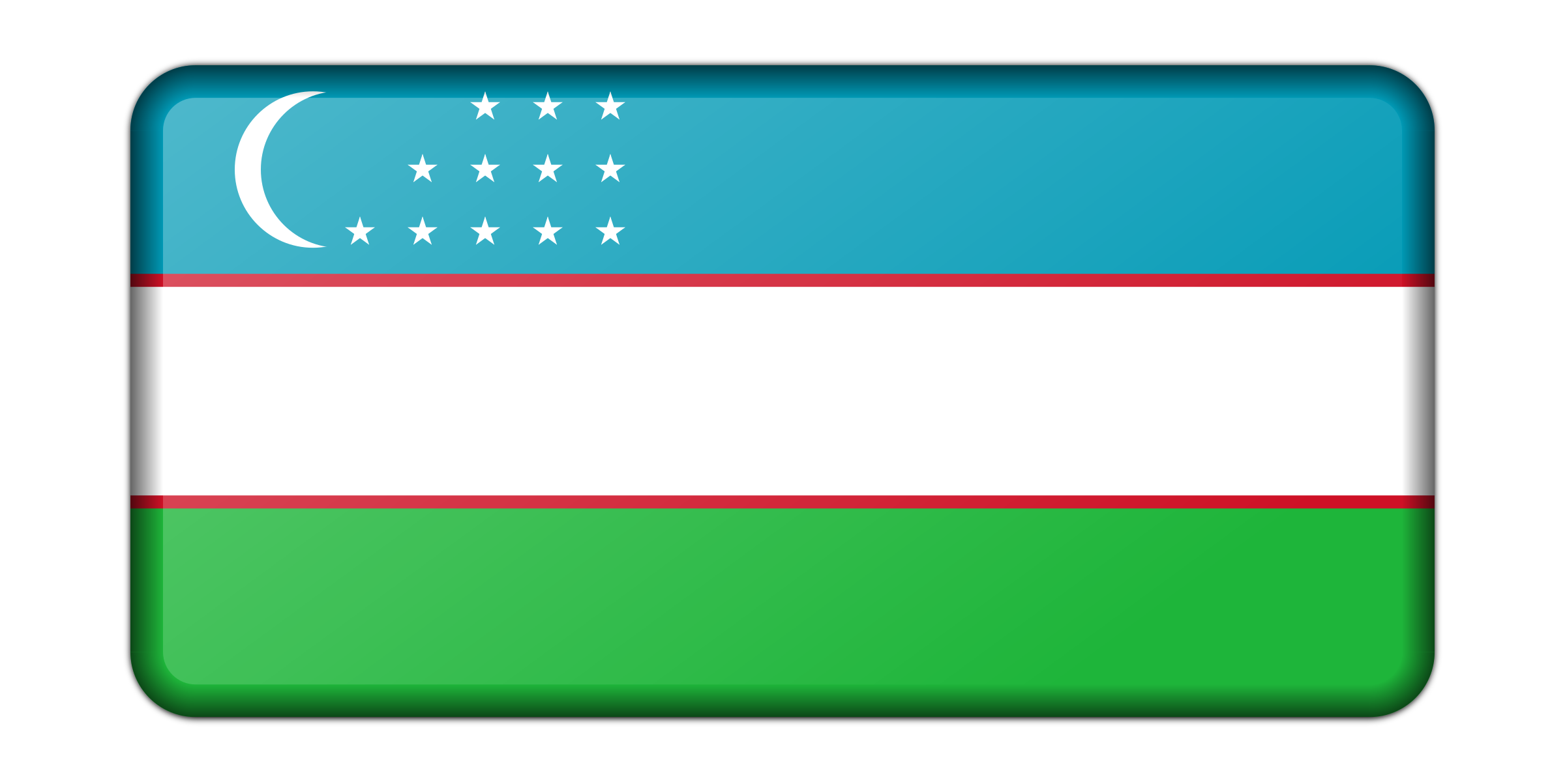 Flag of Uzbekistan (bevelled) by Firkin