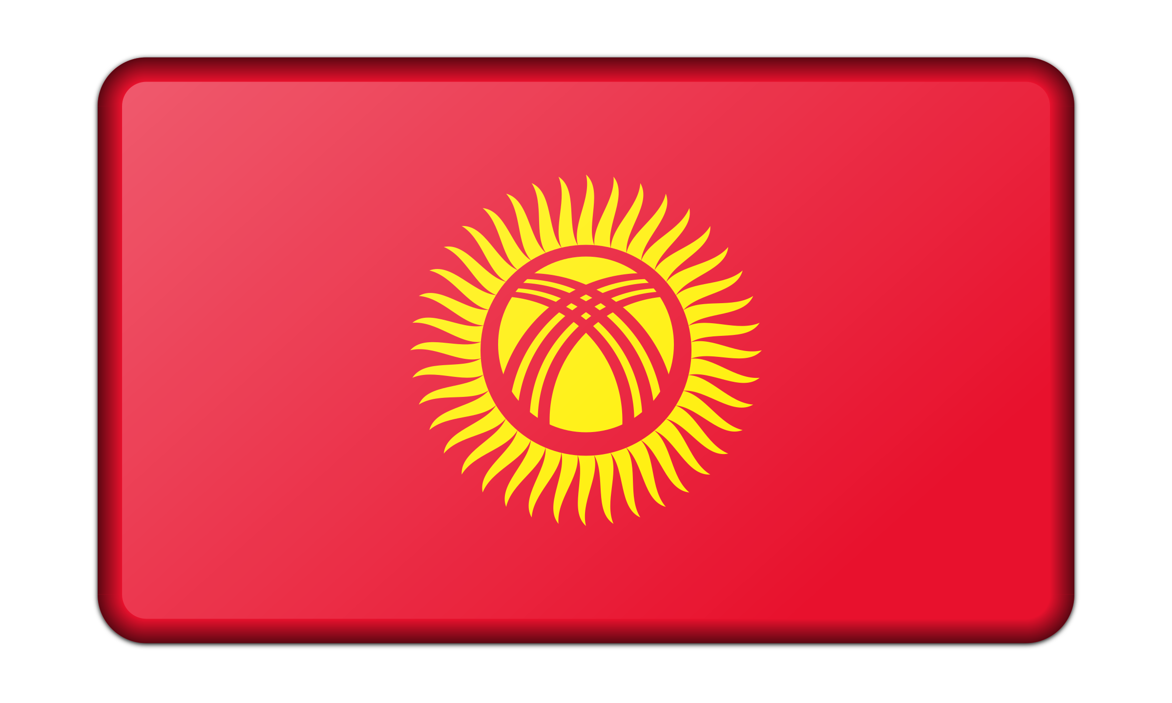 Flag of Kyrgyzstan (bevelled) by Firkin