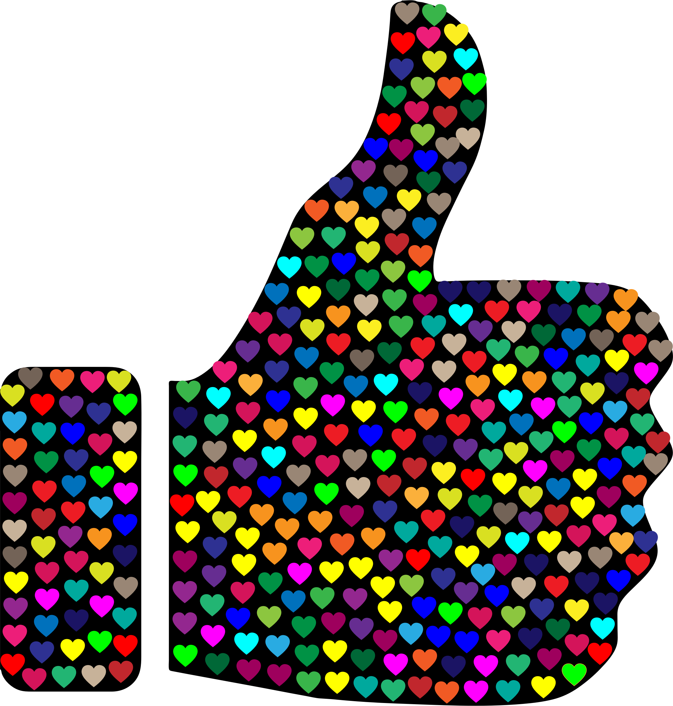 Prismatic Hearts Thumbs Up Silhouette by GDJ