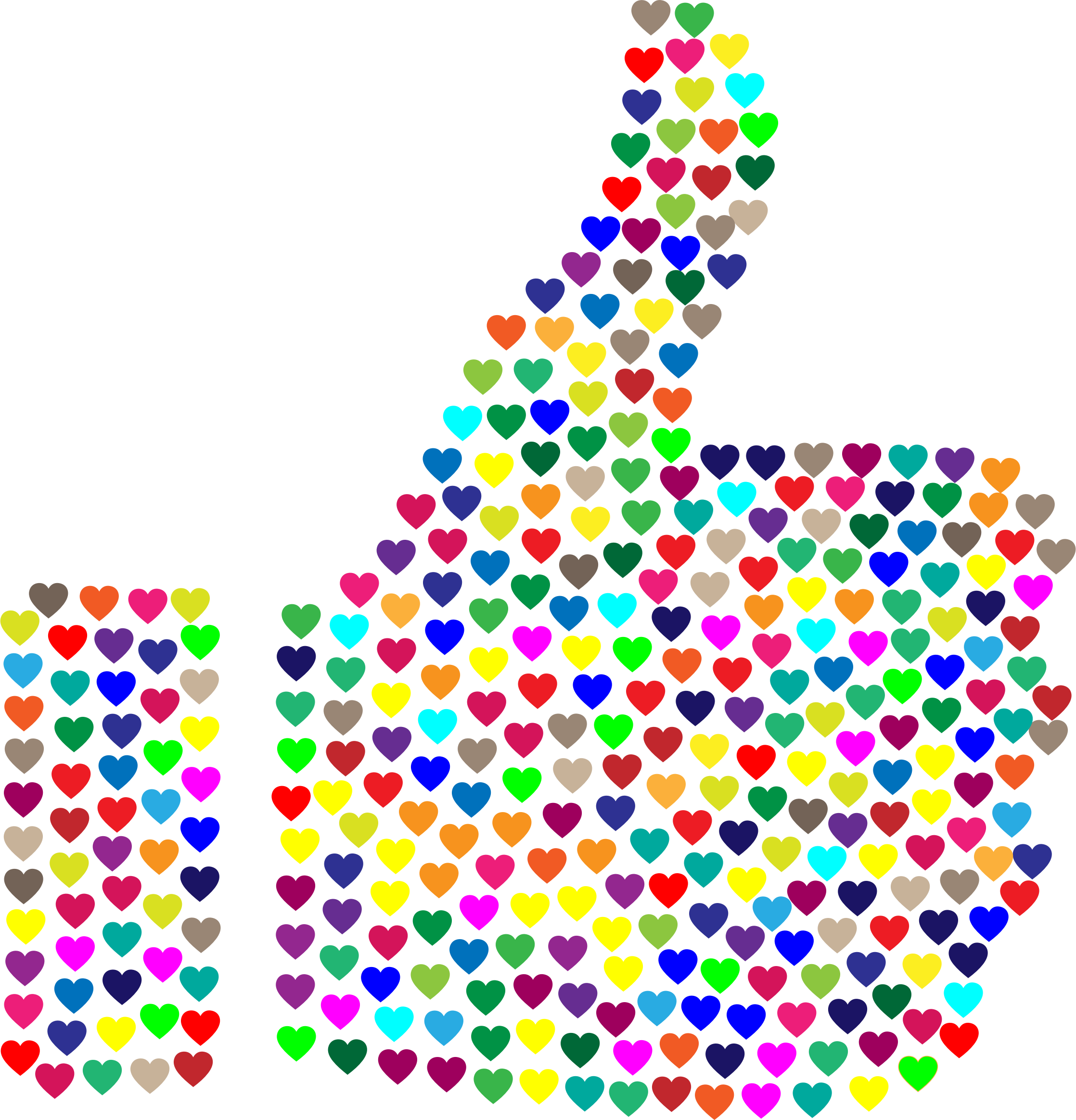 Prismatic Hearts Thumbs Up Silhouette No Background by GDJ