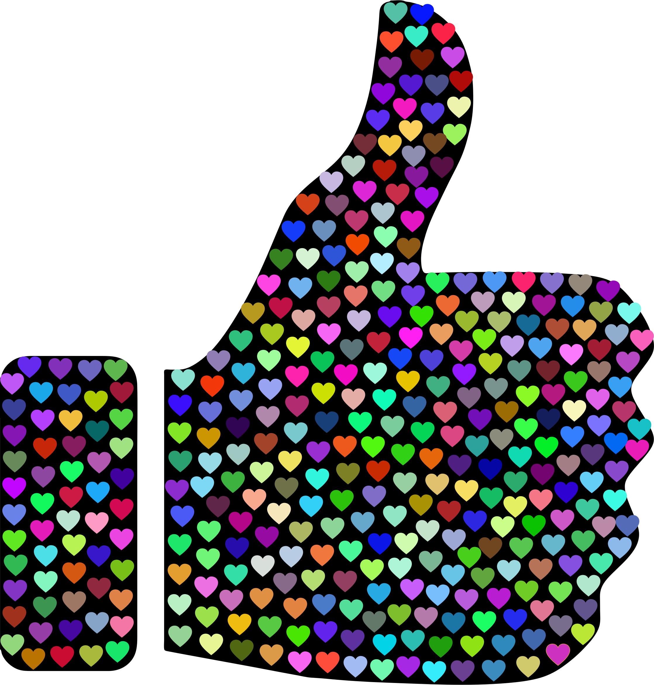 Prismatic Hearts Thumbs Up Silhouette 2 by GDJ