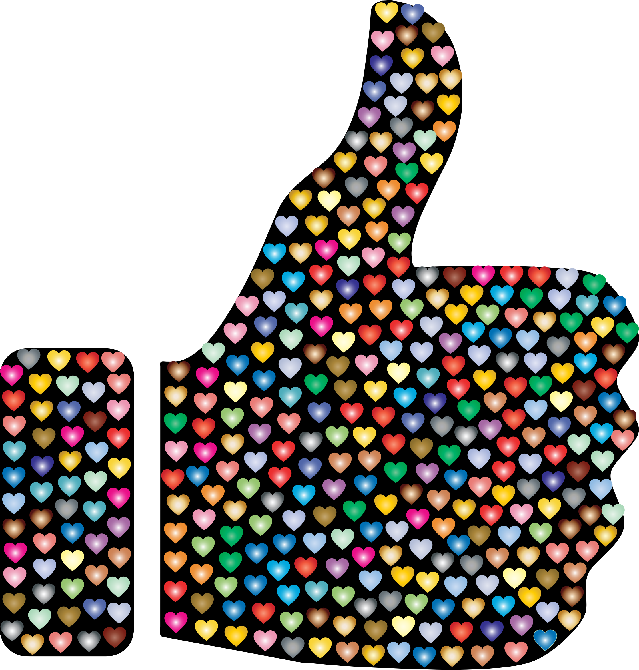 Prismatic Hearts Thumbs Up Silhouette 3 by GDJ
