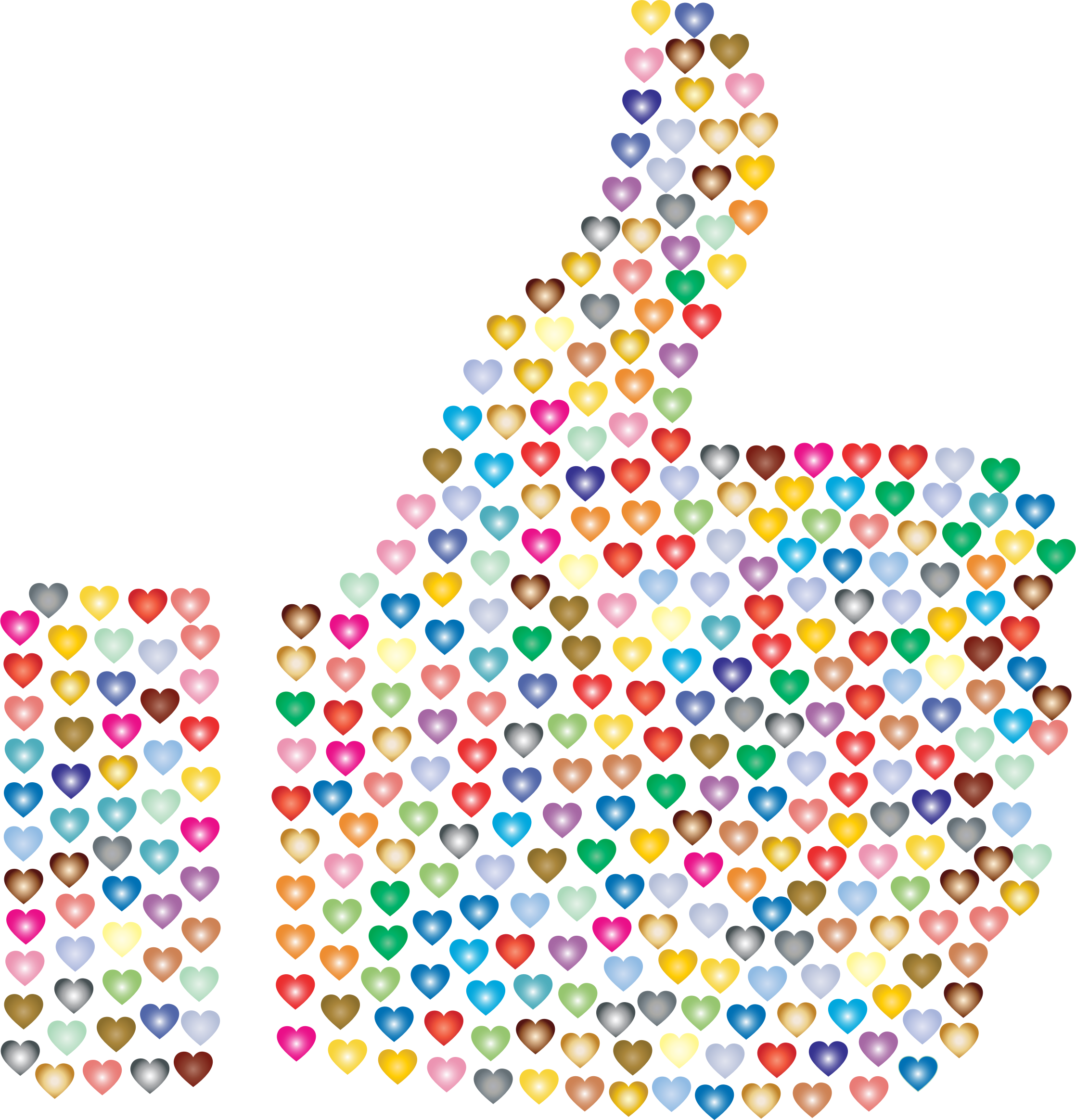 Prismatic Hearts Thumbs Up Silhouette 3 No Background by GDJ