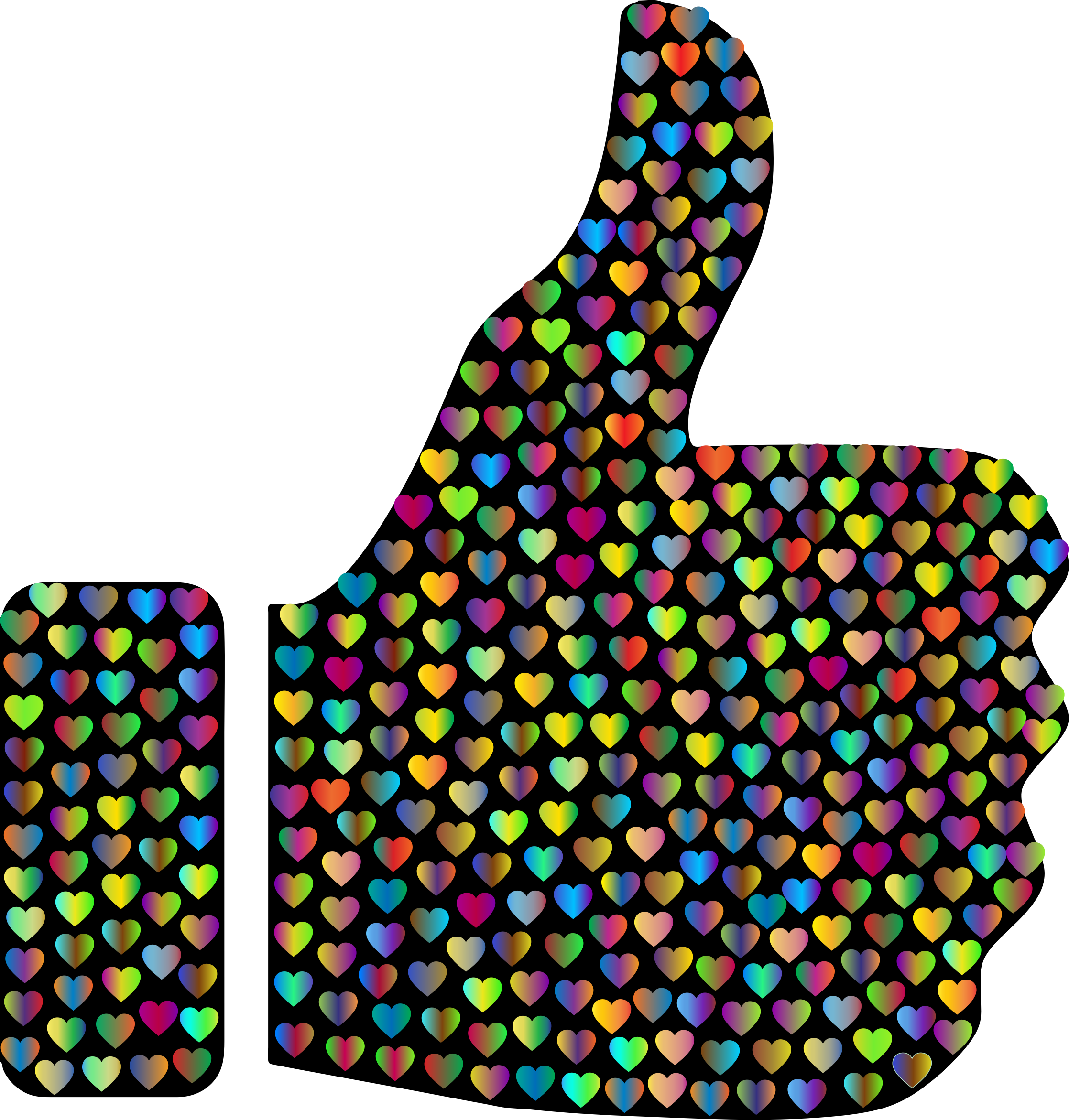 Prismatic Hearts Thumbs Up Silhouette 4 by GDJ
