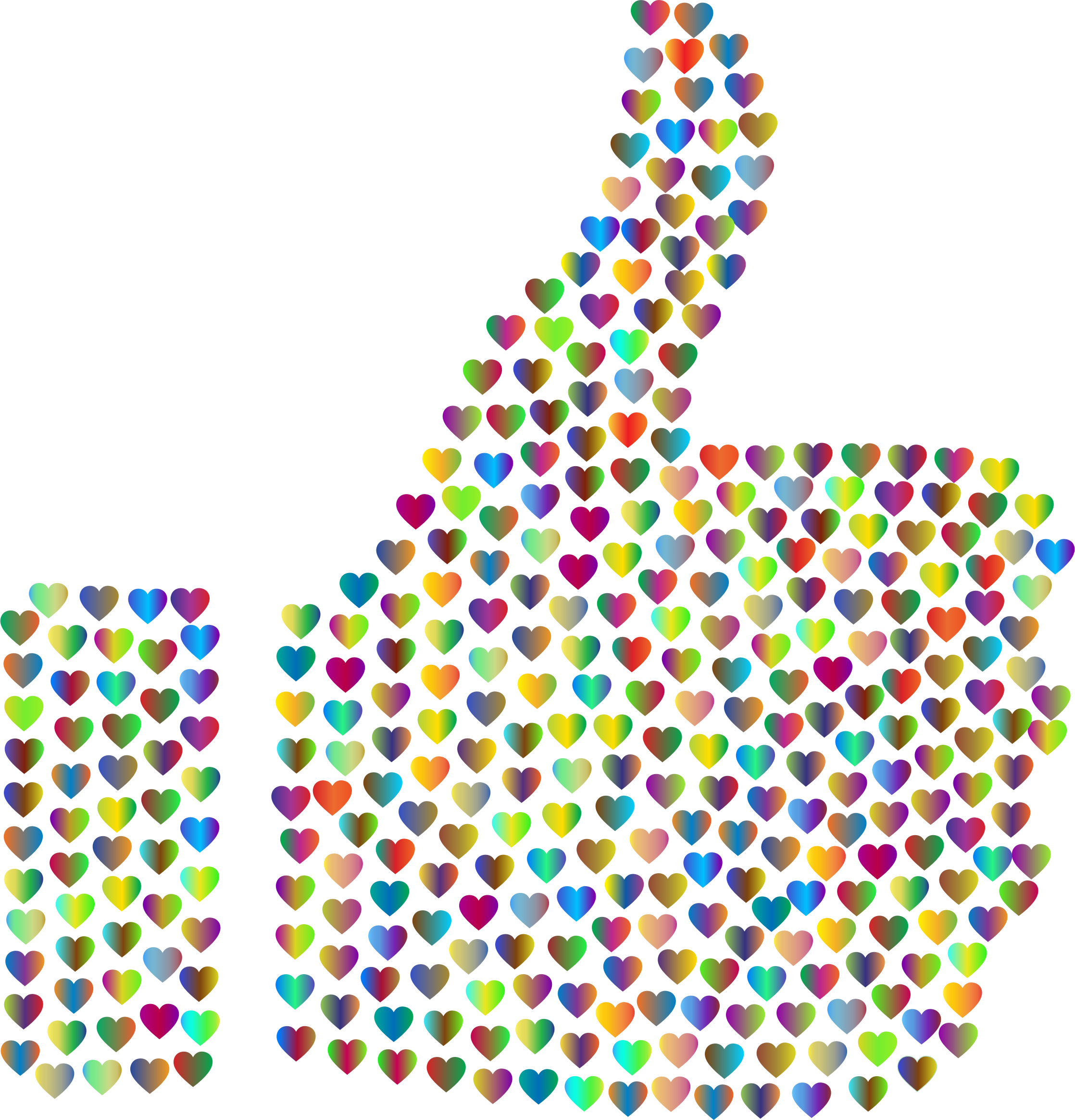 Prismatic Hearts Thumbs Up Silhouette 4 No Background by GDJ