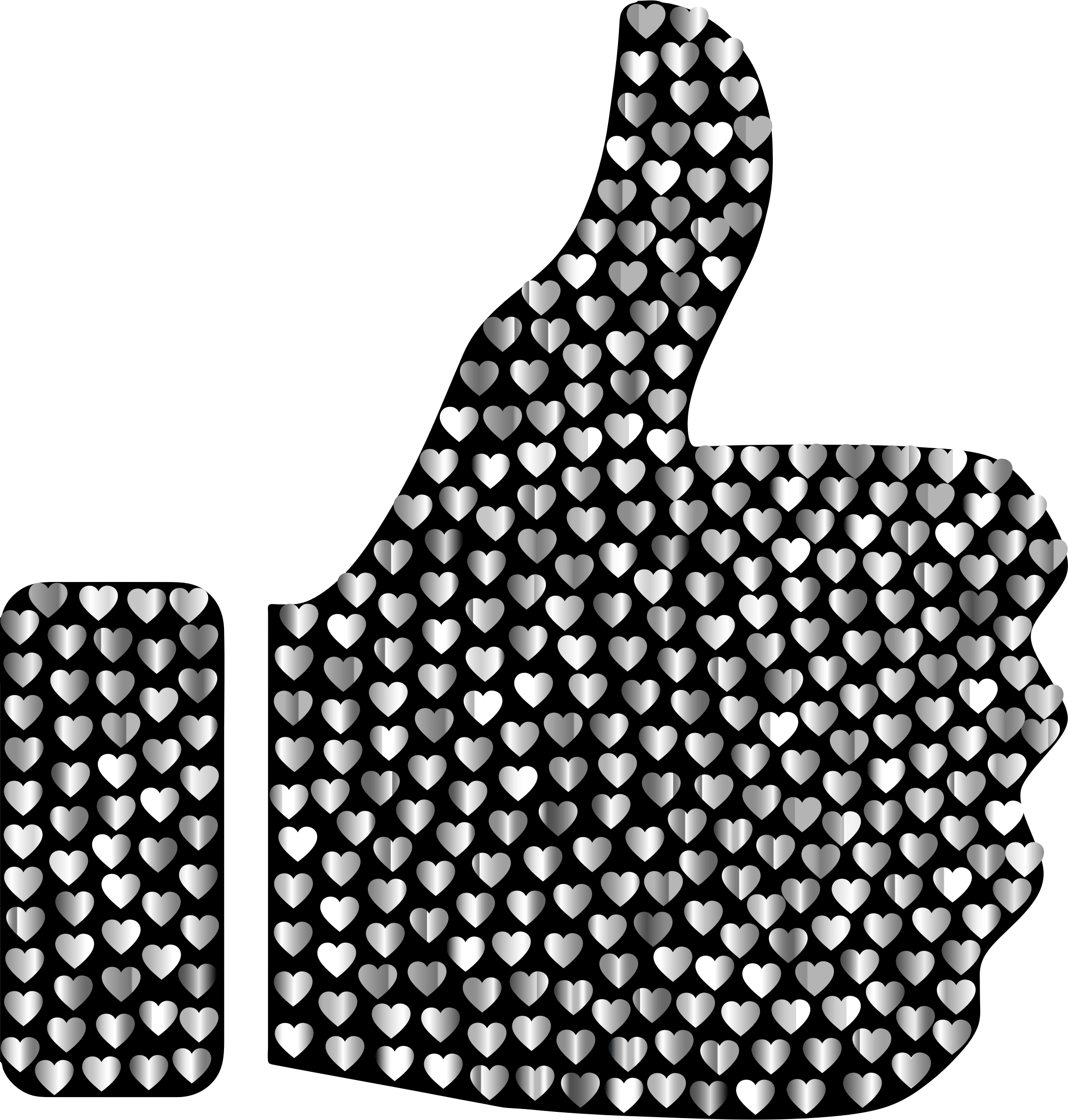 Prismatic Hearts Thumbs Up Silhouette 5 by GDJ