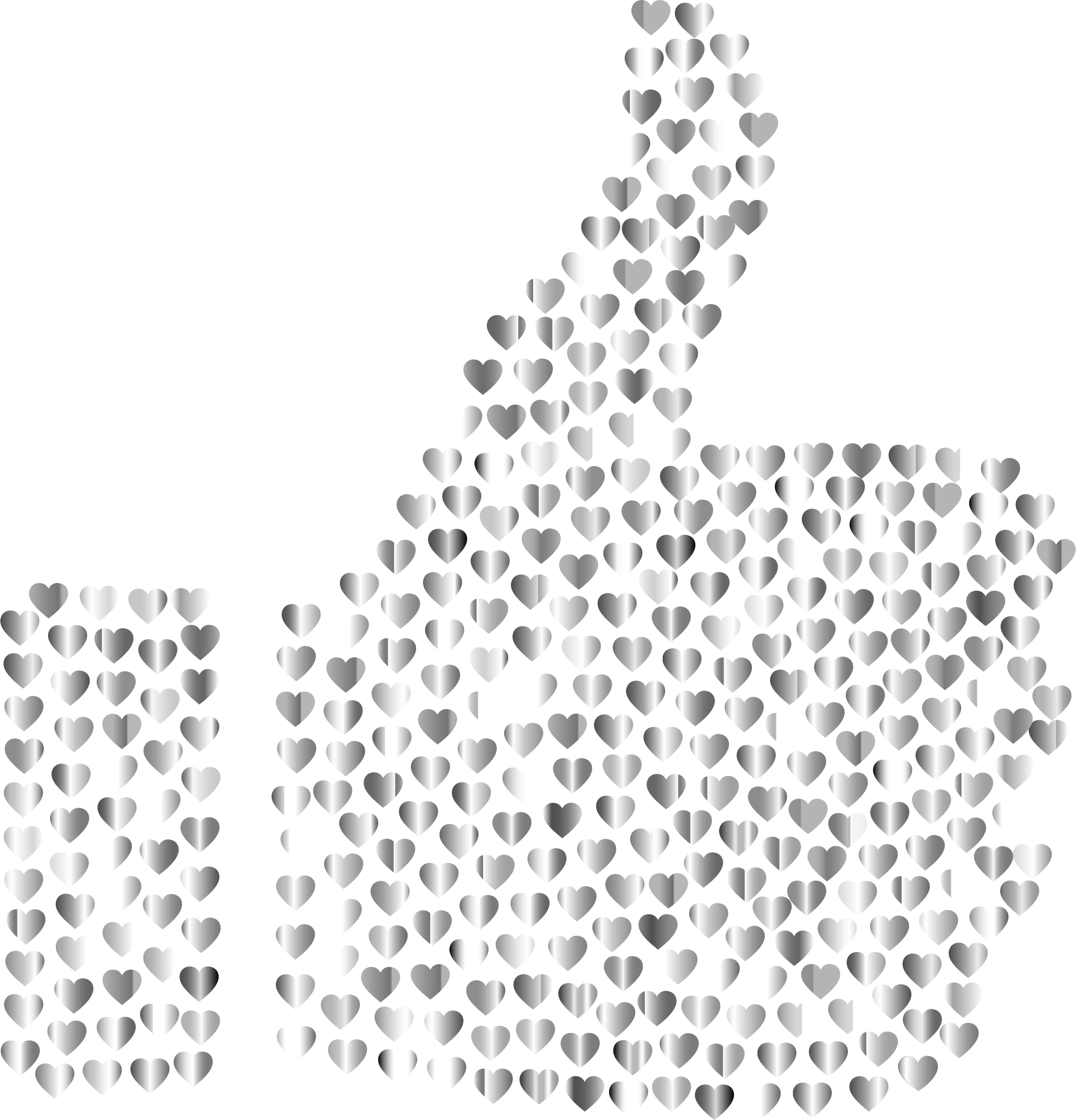 Prismatic Hearts Thumbs Up Silhouette 5 No Background by GDJ