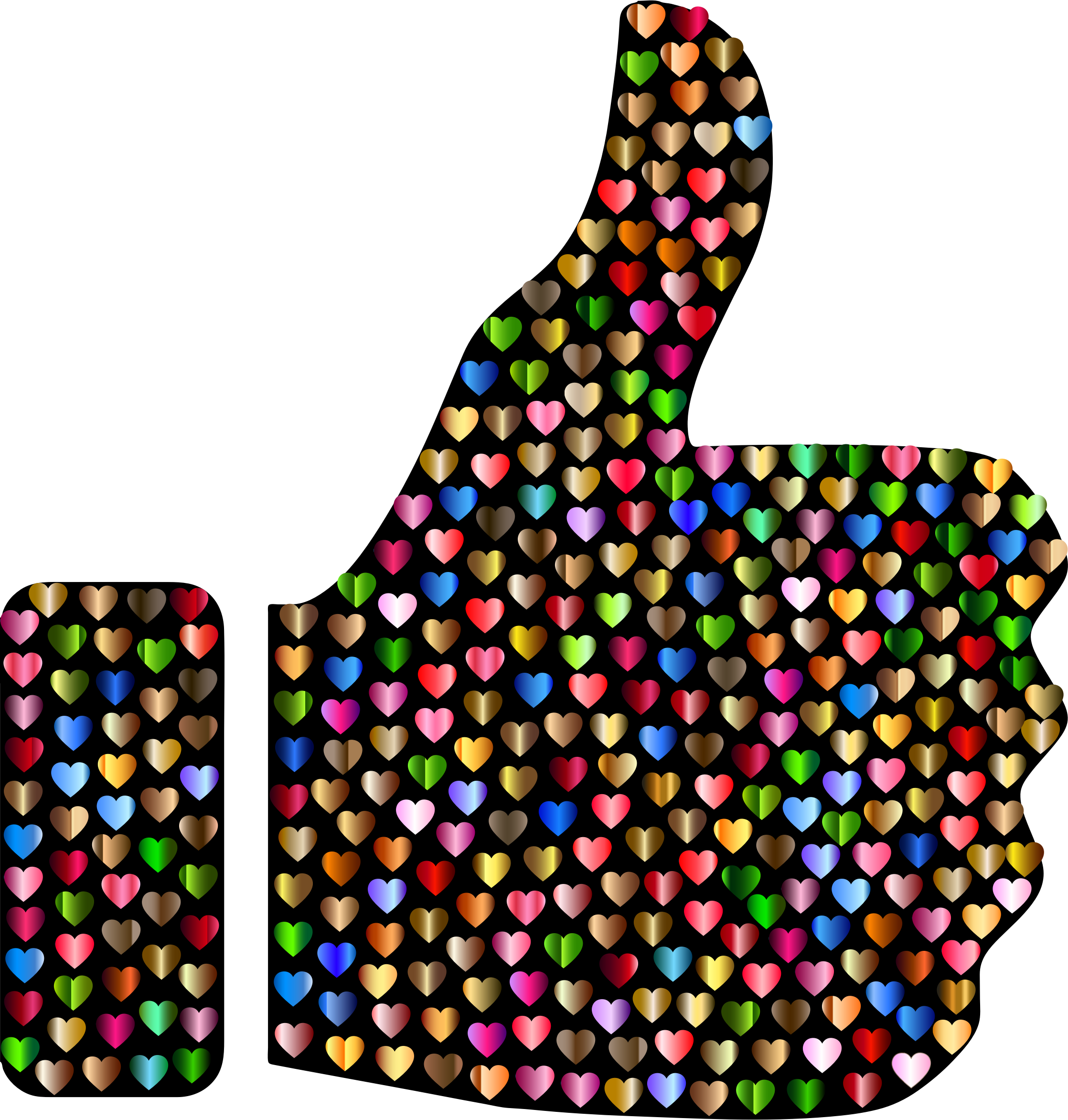 Prismatic Hearts Thumbs Up Silhouette 6 by GDJ