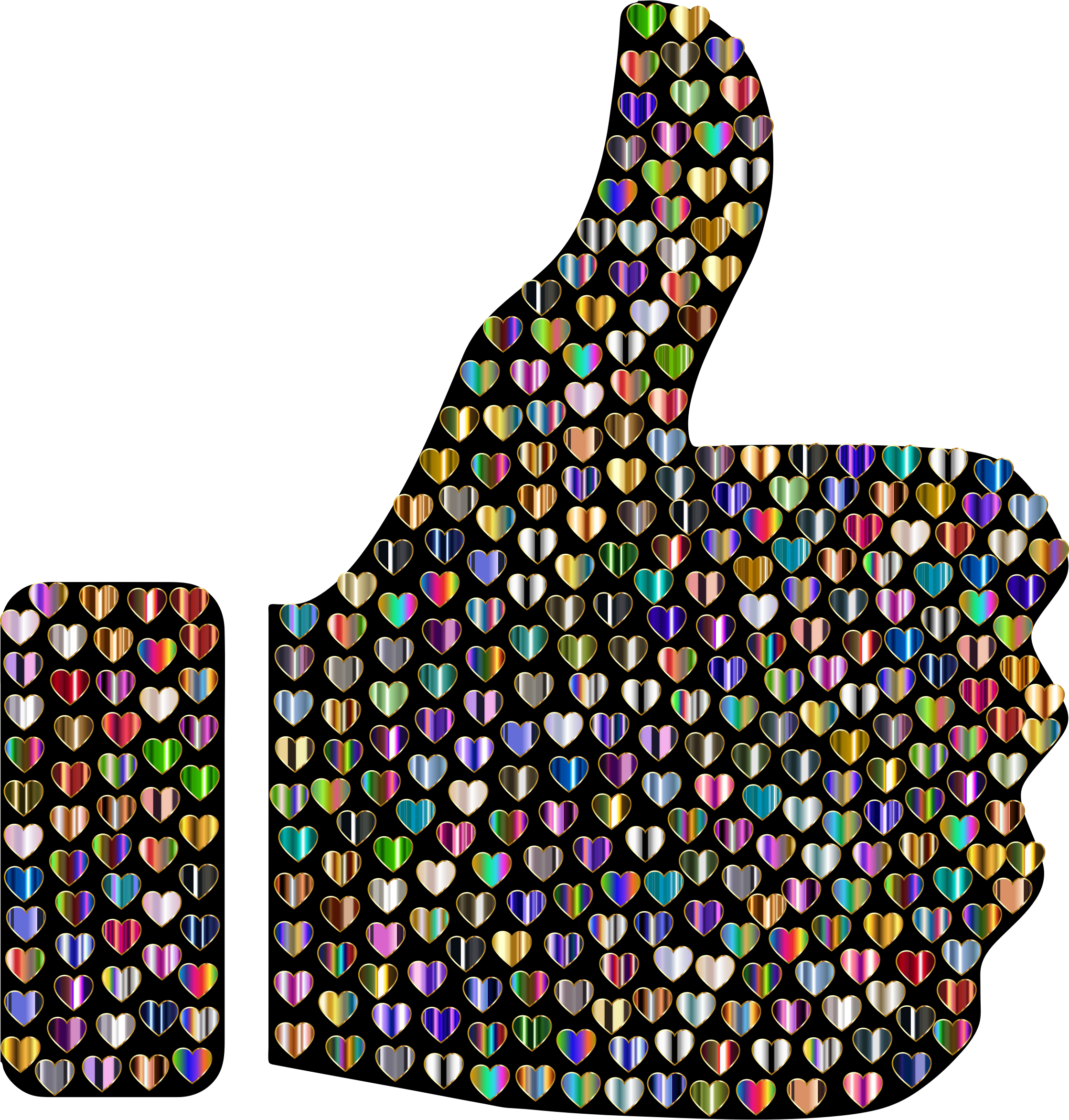 Prismatic Hearts Thumbs Up Silhouette 9 by GDJ