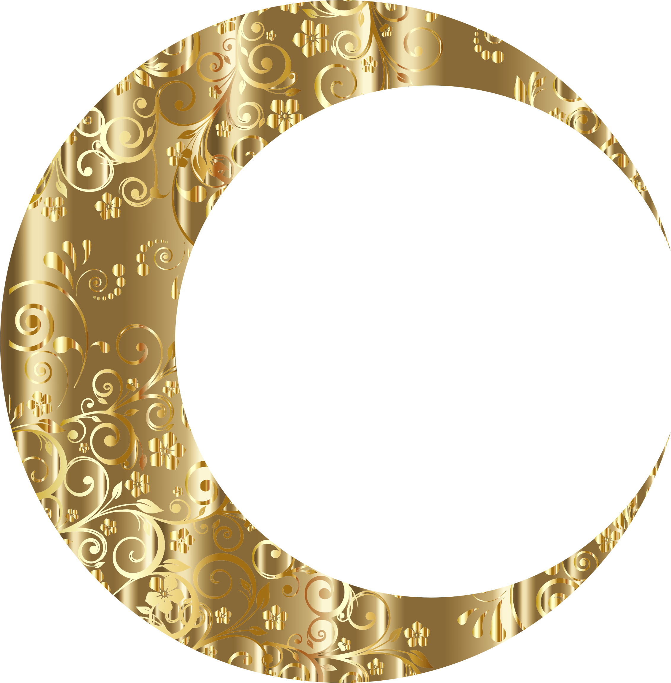 Gold Floral Crescent Moon Mark II by GDJ