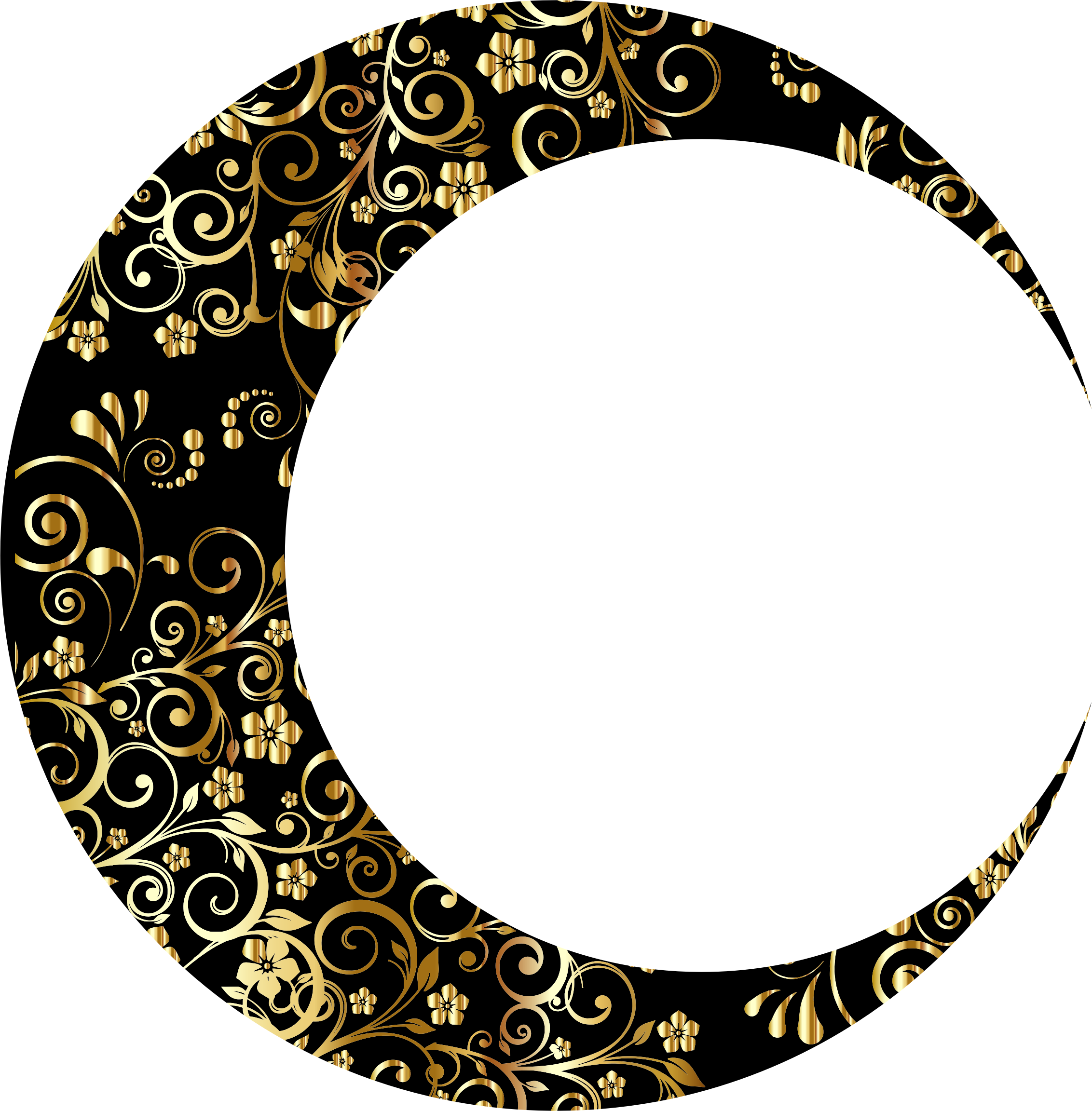Gold Floral Crescent Moon Mark II 5 by GDJ