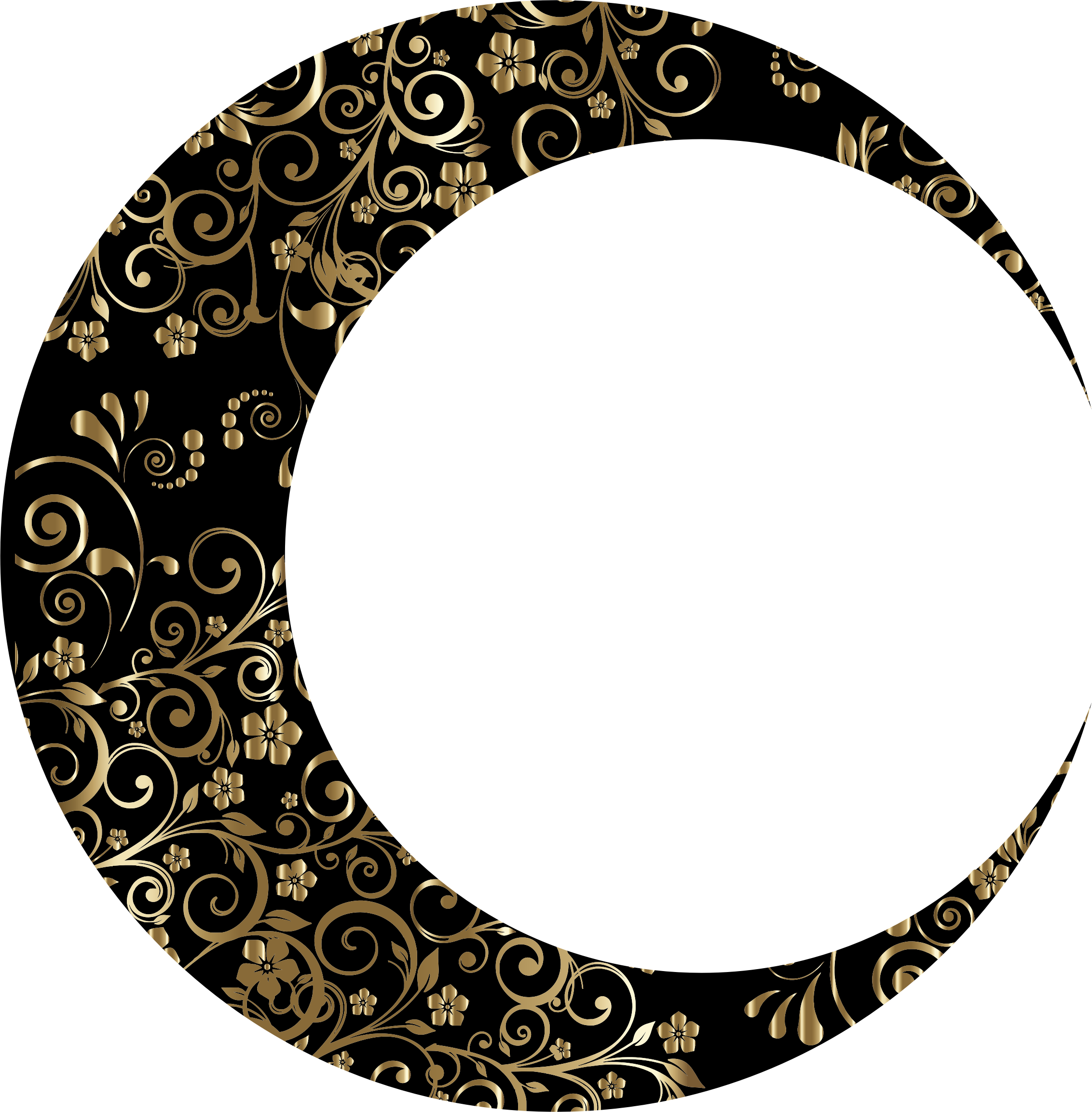 Gold Floral Crescent Moon Mark II 7 by GDJ