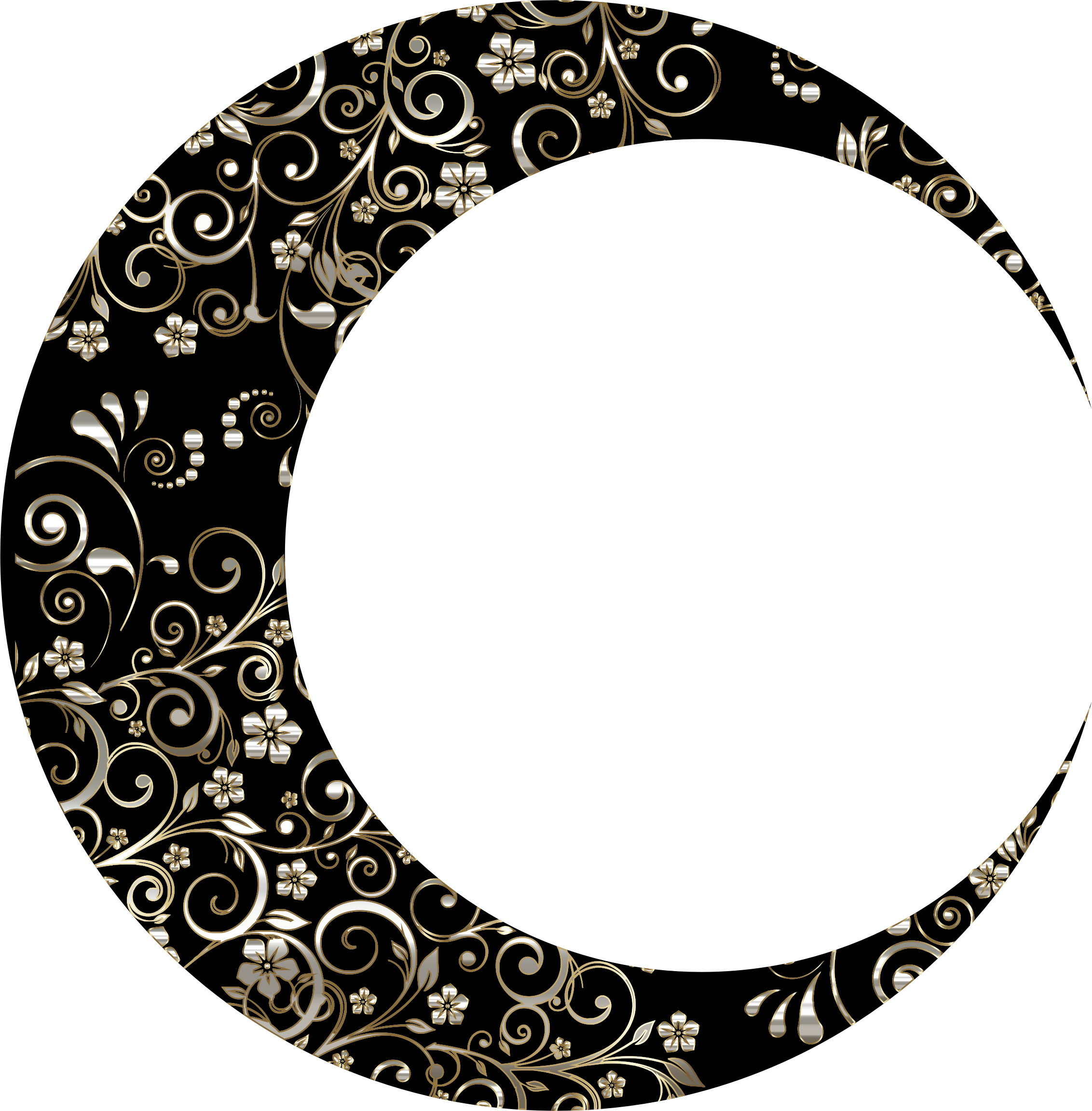 Gold Floral Crescent Moon Mark II 11 by GDJ