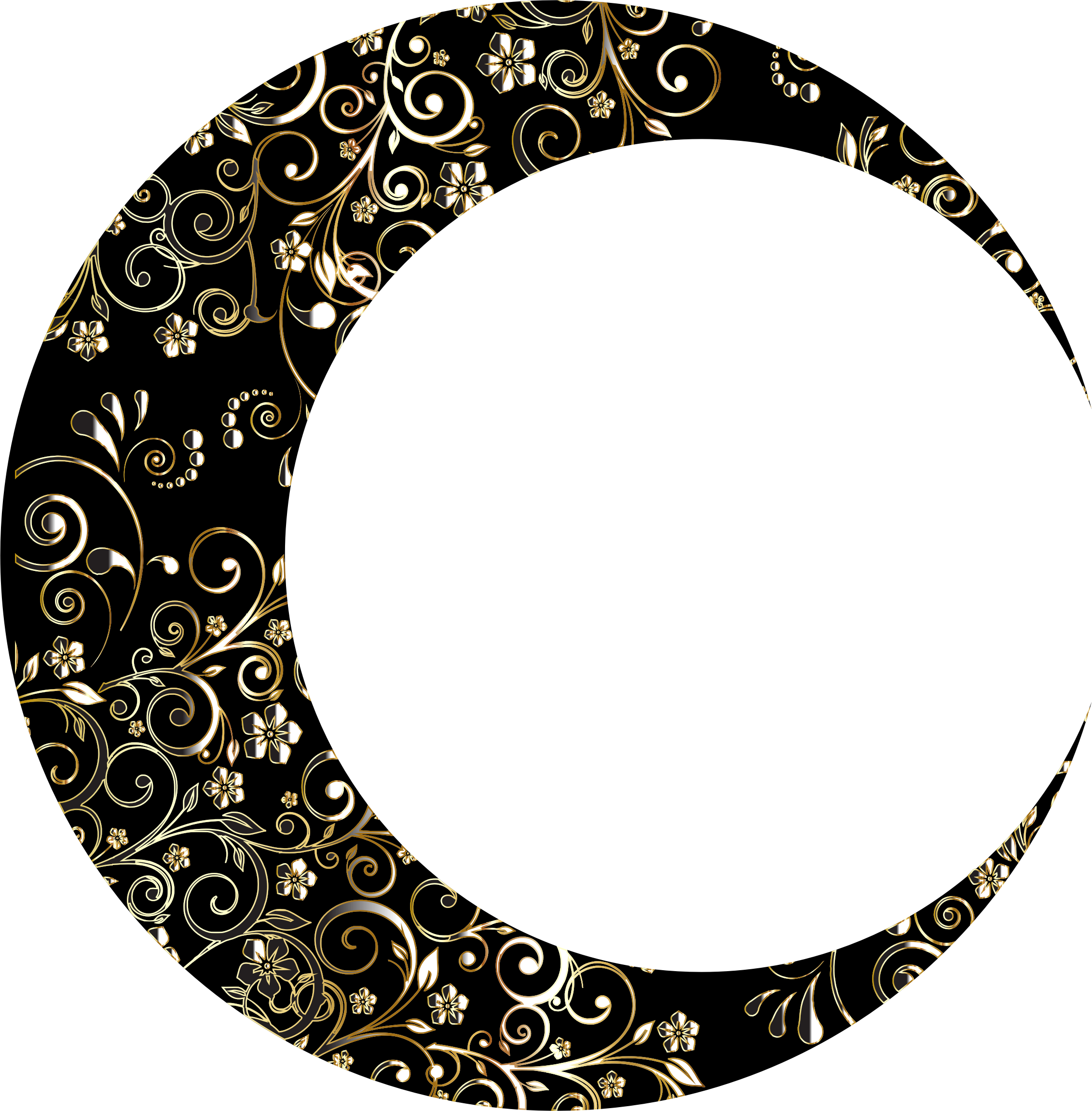 Gold Floral Crescent Moon Mark II 12 by GDJ