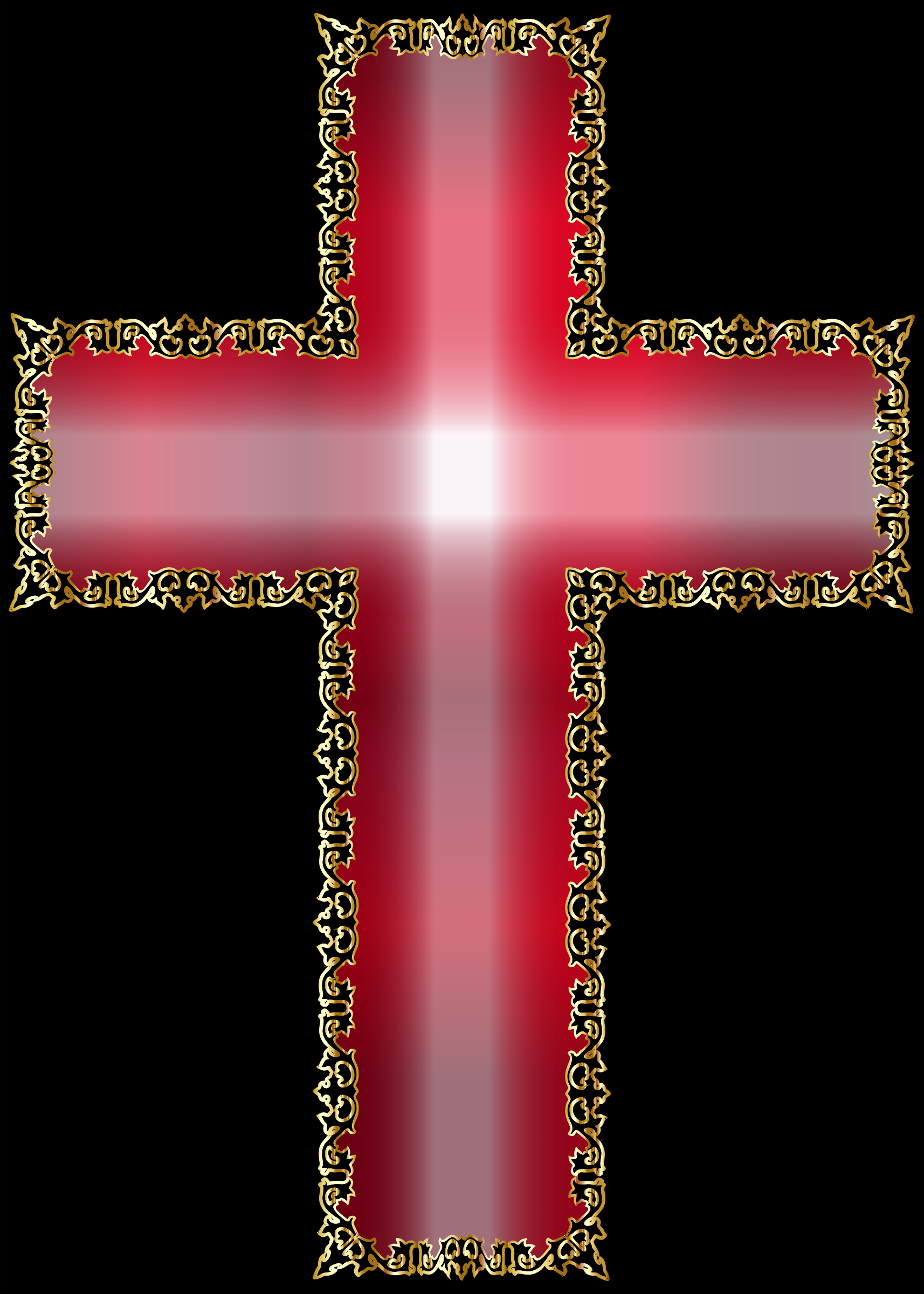 Golden Decorative Flourish Silhouette Cross by GDJ