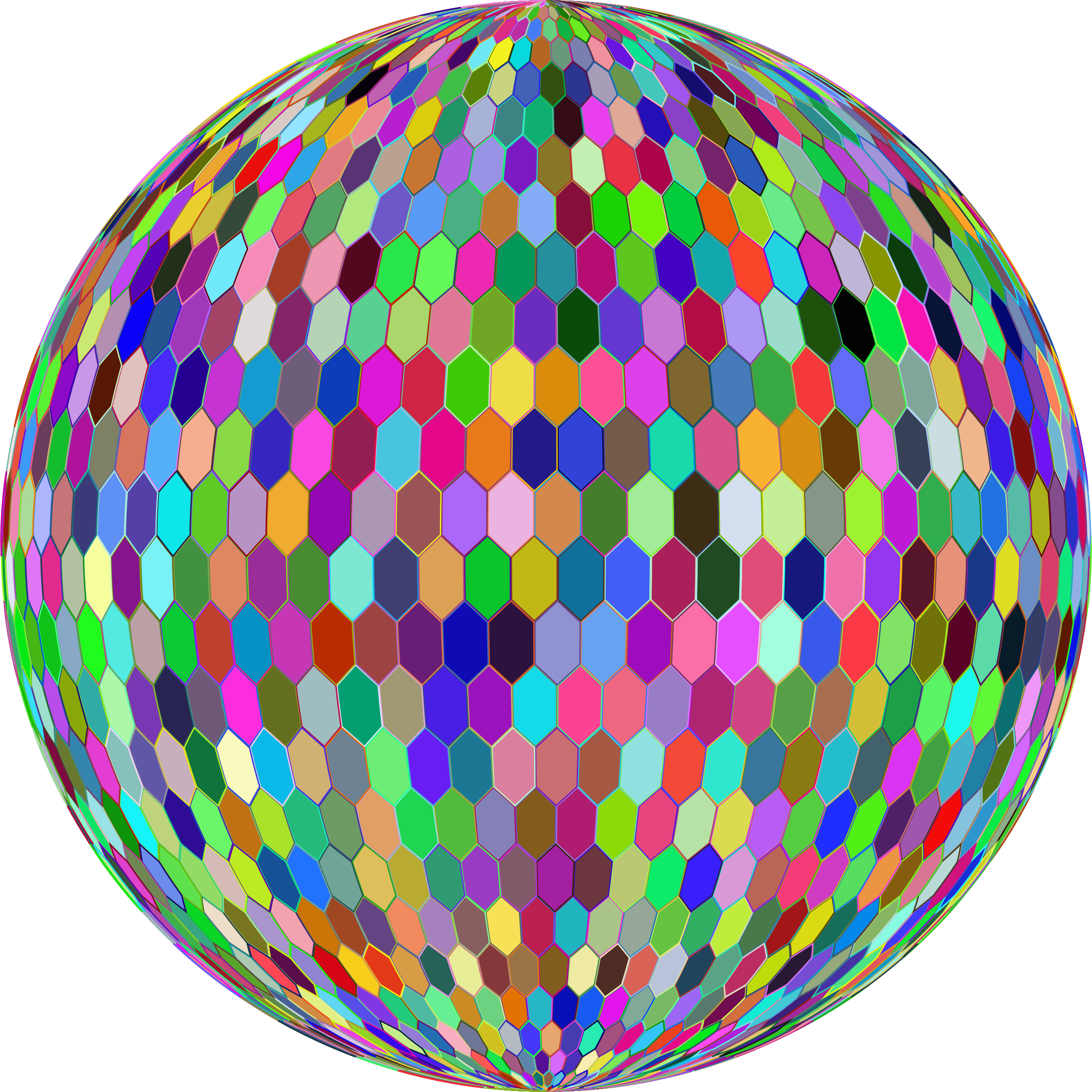 Prismatic Hexagonal Grid Sphere Variation 2 With Strokes Variation 2 by GDJ