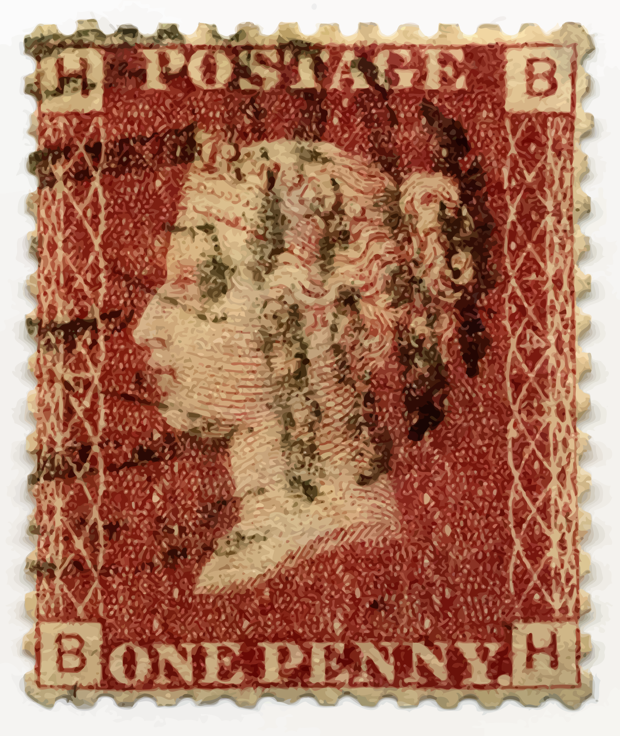 Penny red postage stamp by Firkin