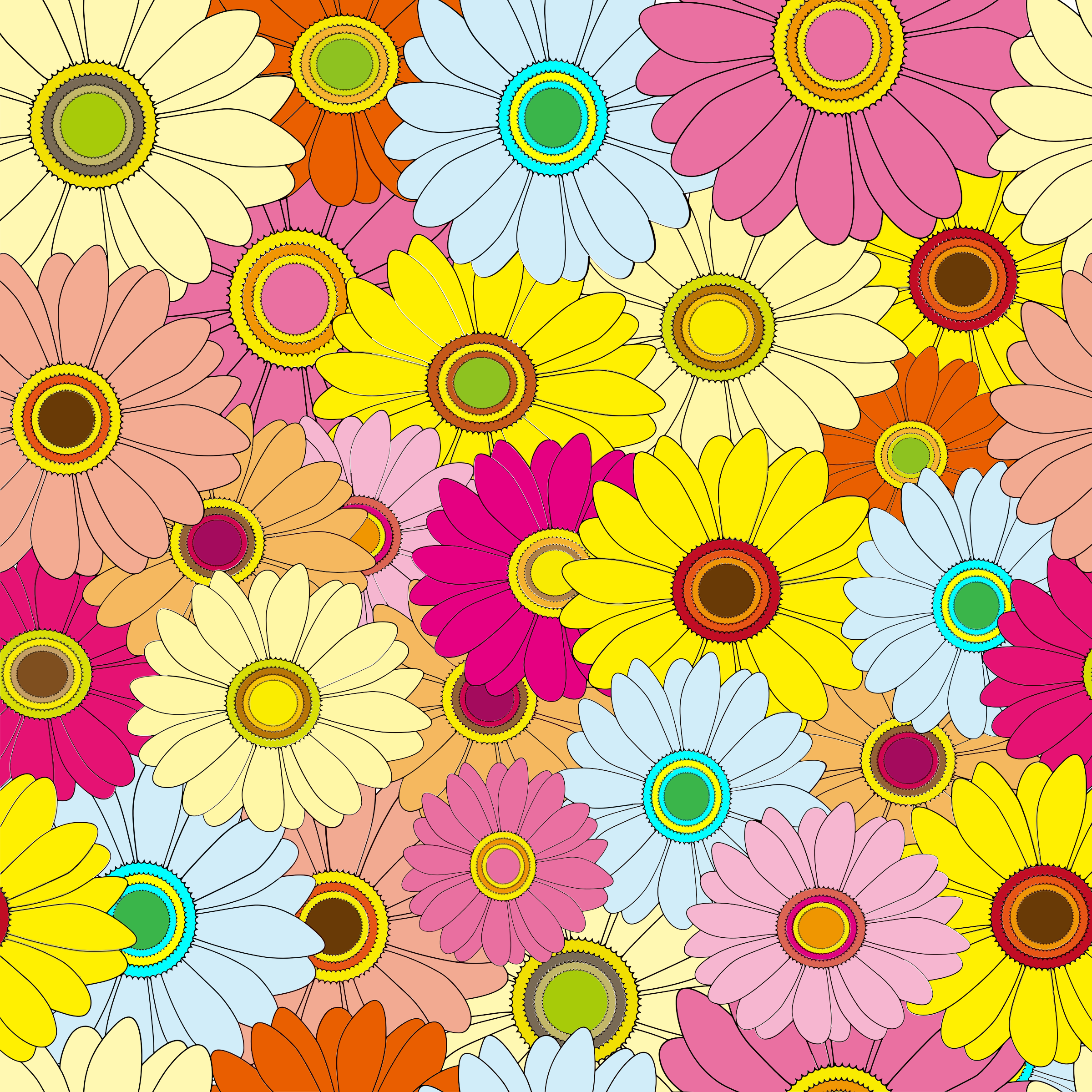Bright Multicolored Floral Background by GDJ