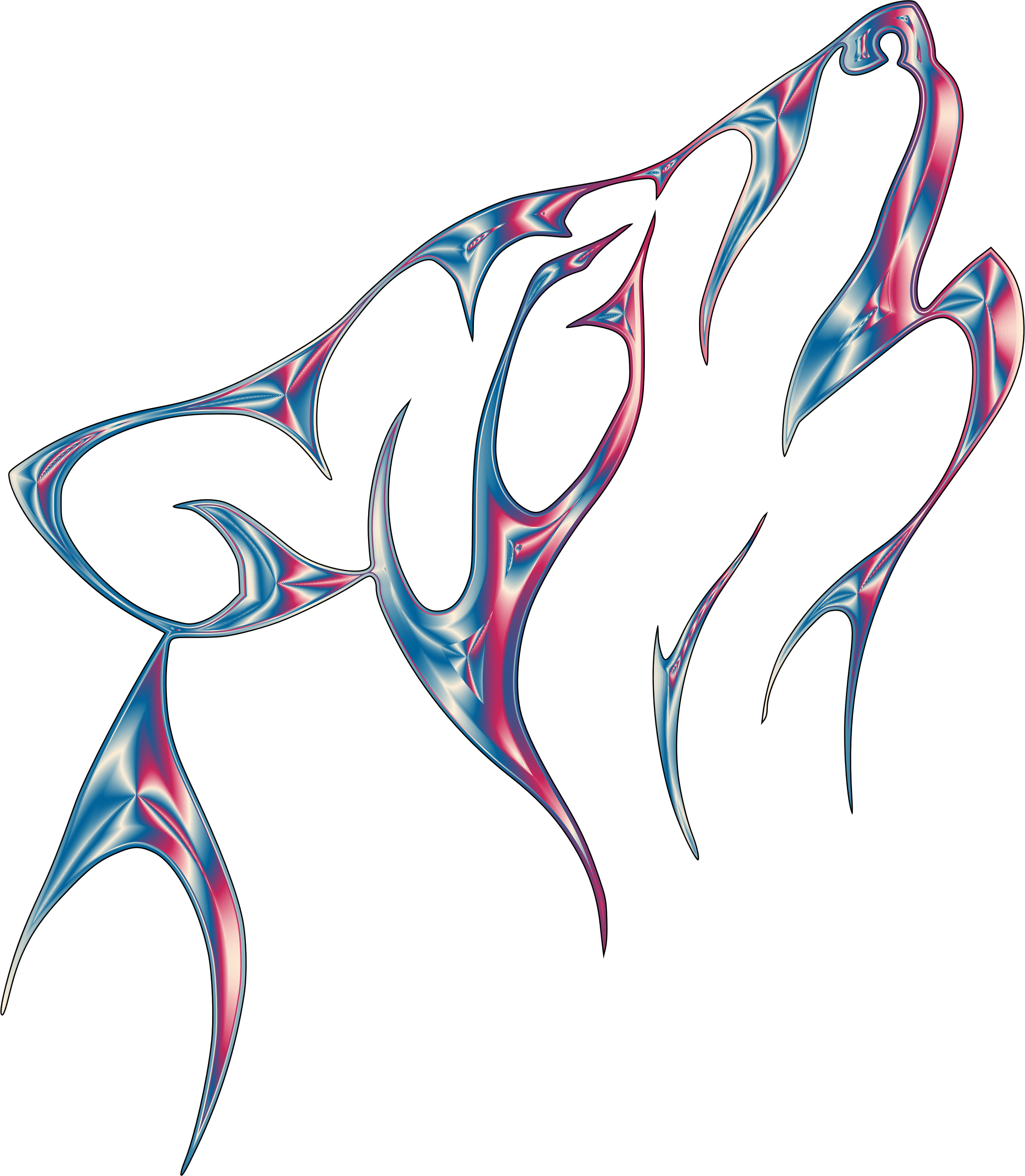 Iridescent Chrome Tribal Wolf No Background by GDJ