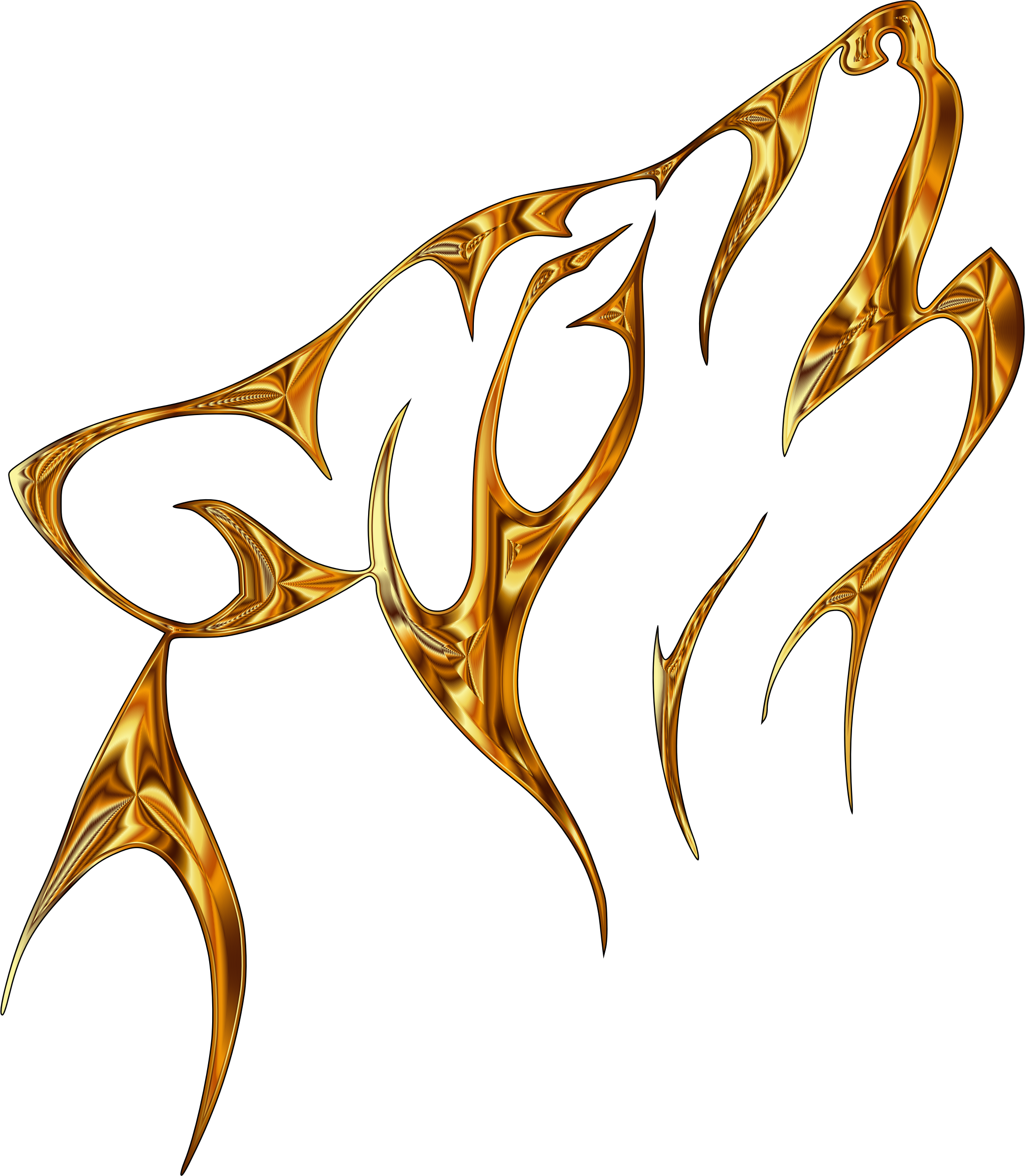 Golden Ember Tribal Wolf No Background by GDJ