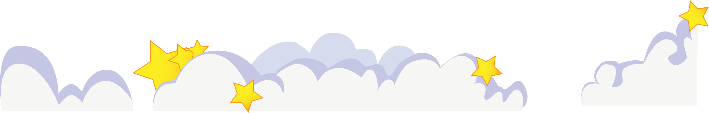 Cute cartoon clouds with stars by mokush