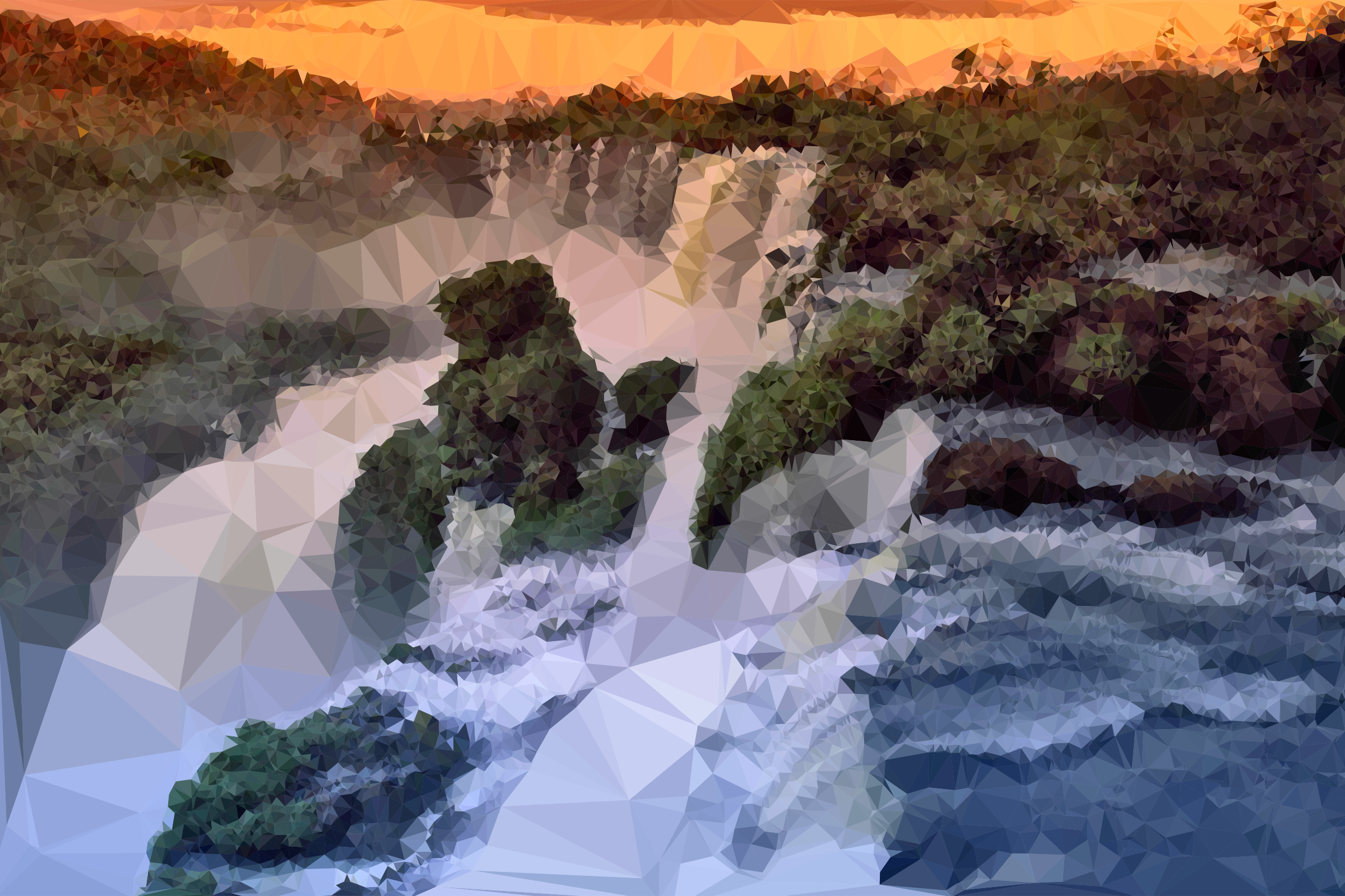 Low Poly Jungle Waterfall by GDJ