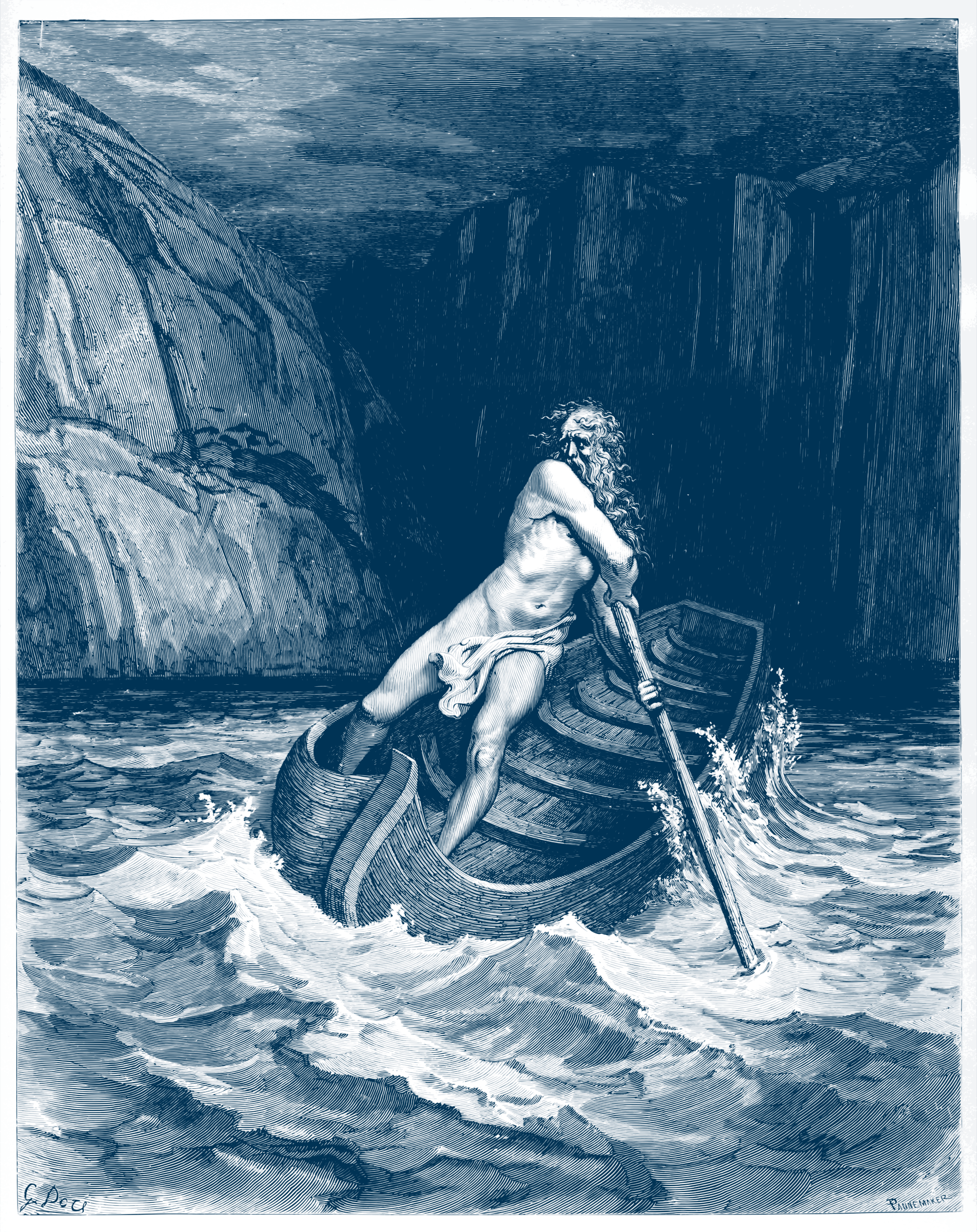 Charon, by Doré 1857 (in blue ink) by AdamStanislav