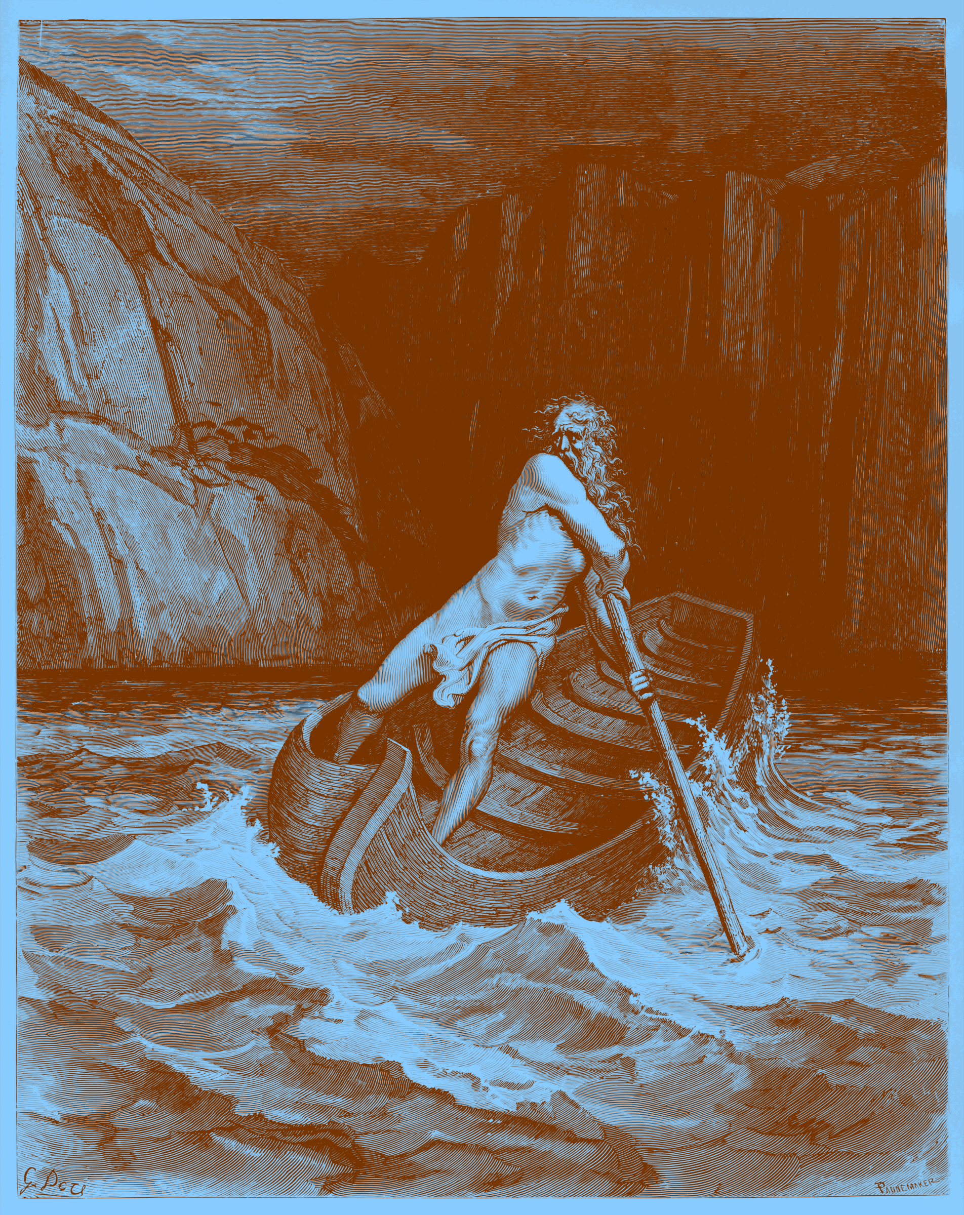 Charon, by Doré 1857 (in orange ink on blue paper) by AdamStanislav