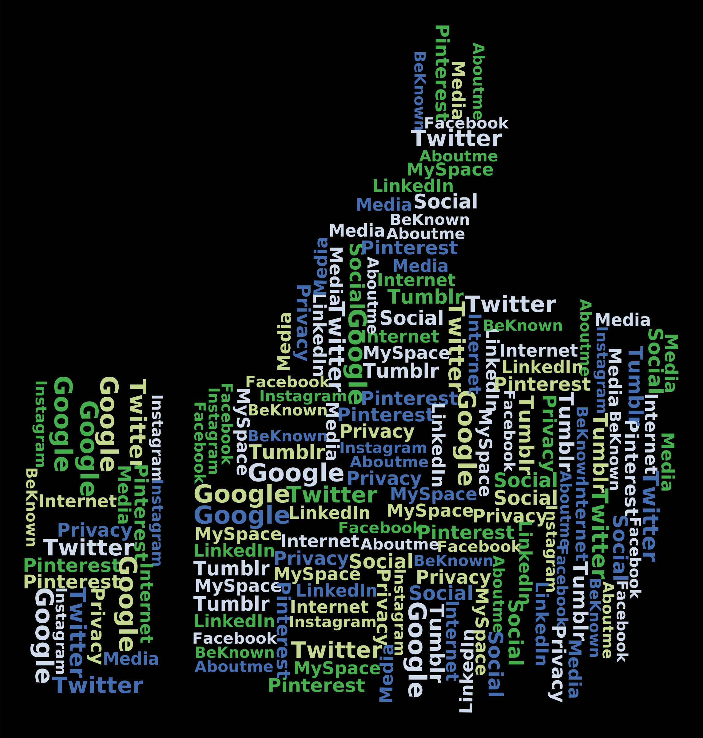 Thumbs Up Social Media Word Cloud by GDJ
