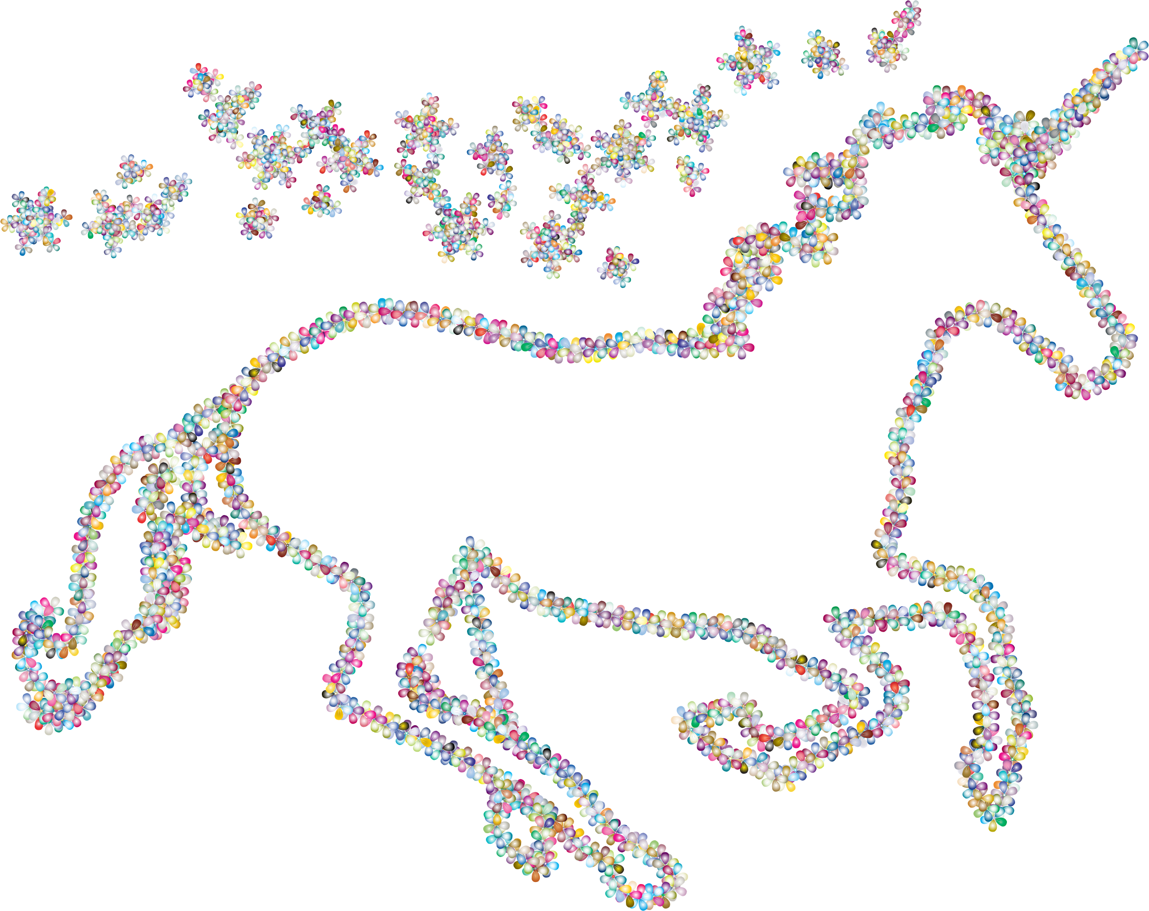 Prismatic Floral Magical Unicorn Outline 2 by GDJ