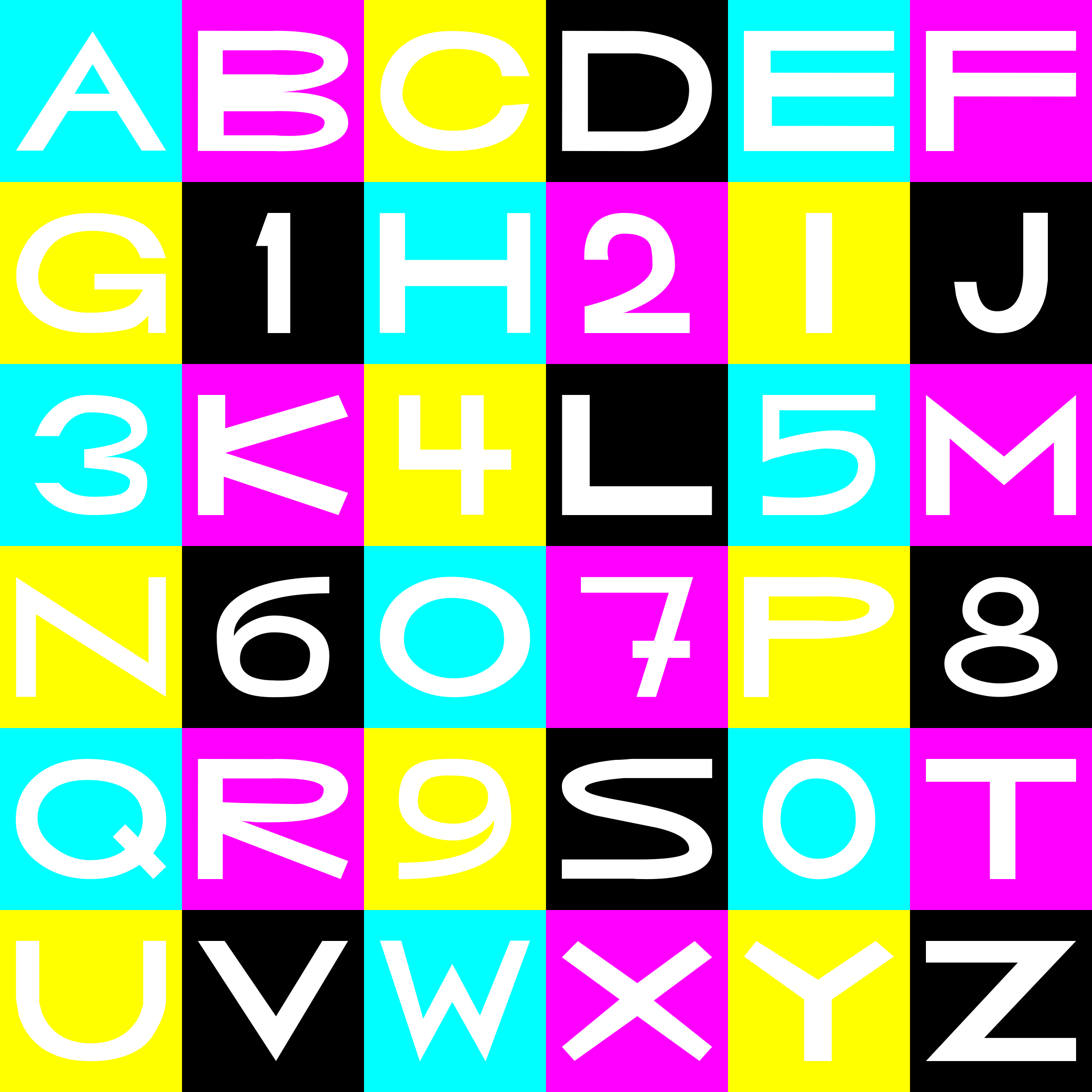 CMYK basic letters/numbers grid (mouseyer font) by dabnotu