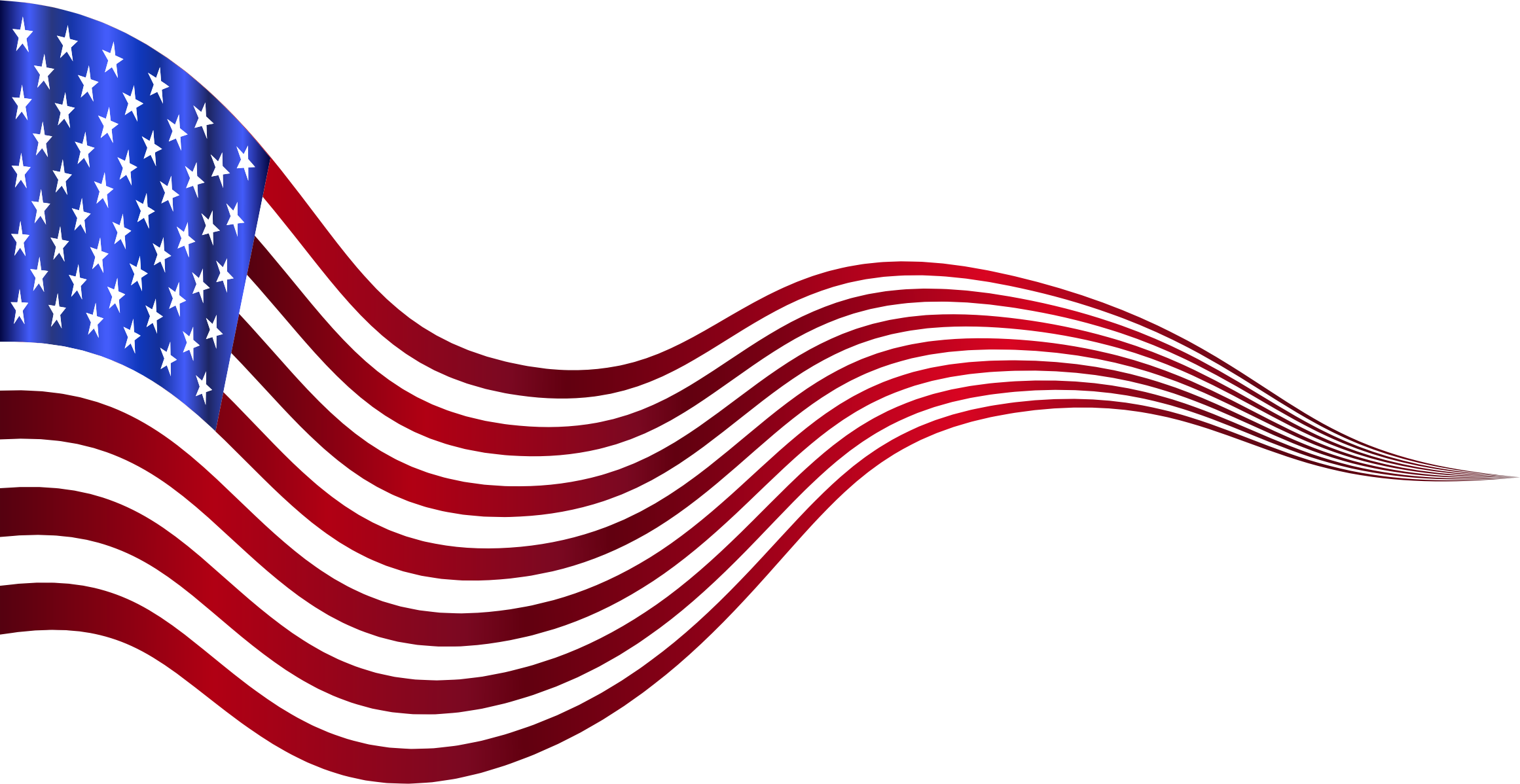 Clipart - Wavy USA Flag Banner 2 Variation 2