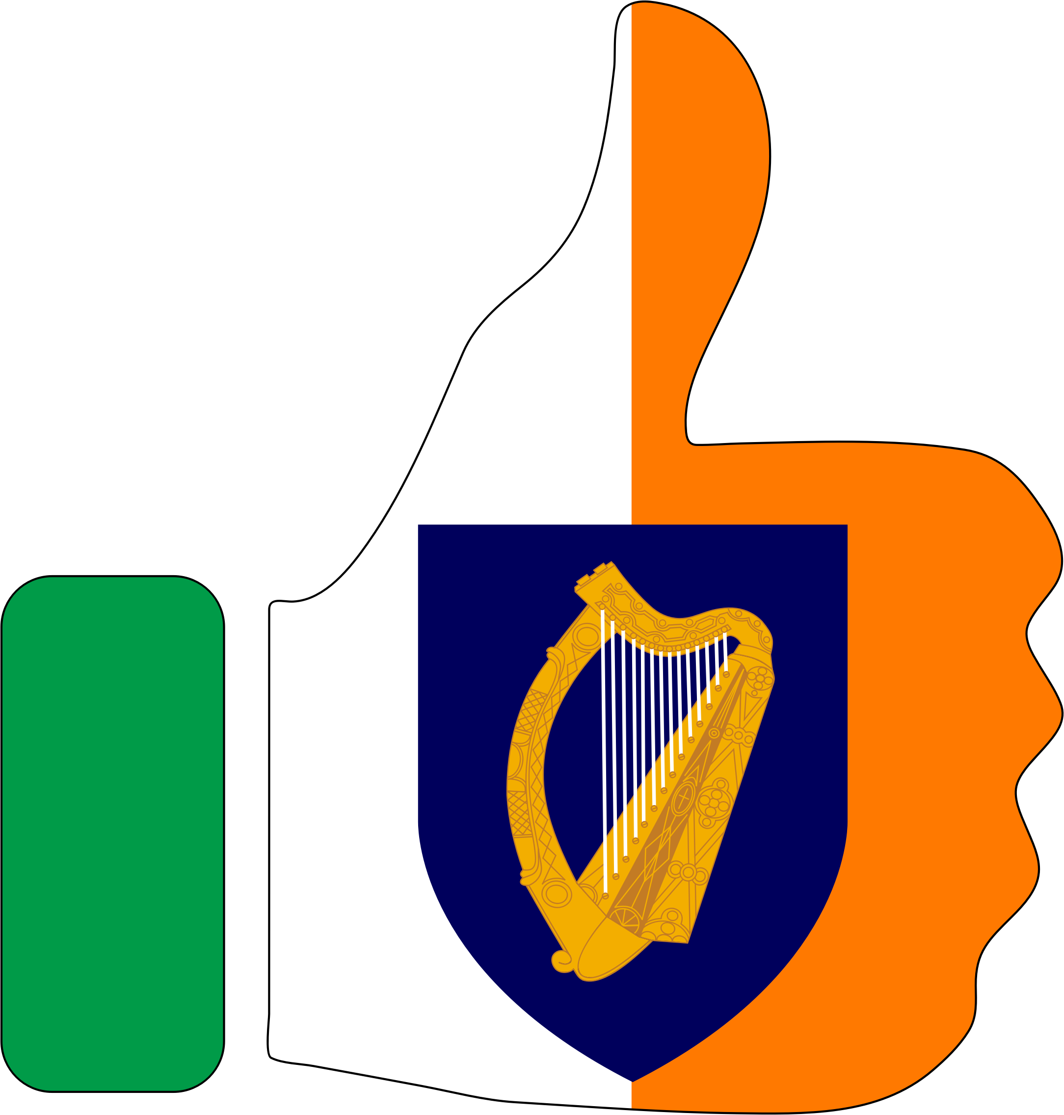 Thumbs Up Ireland With Stroke And Coat Of Arms by GDJ