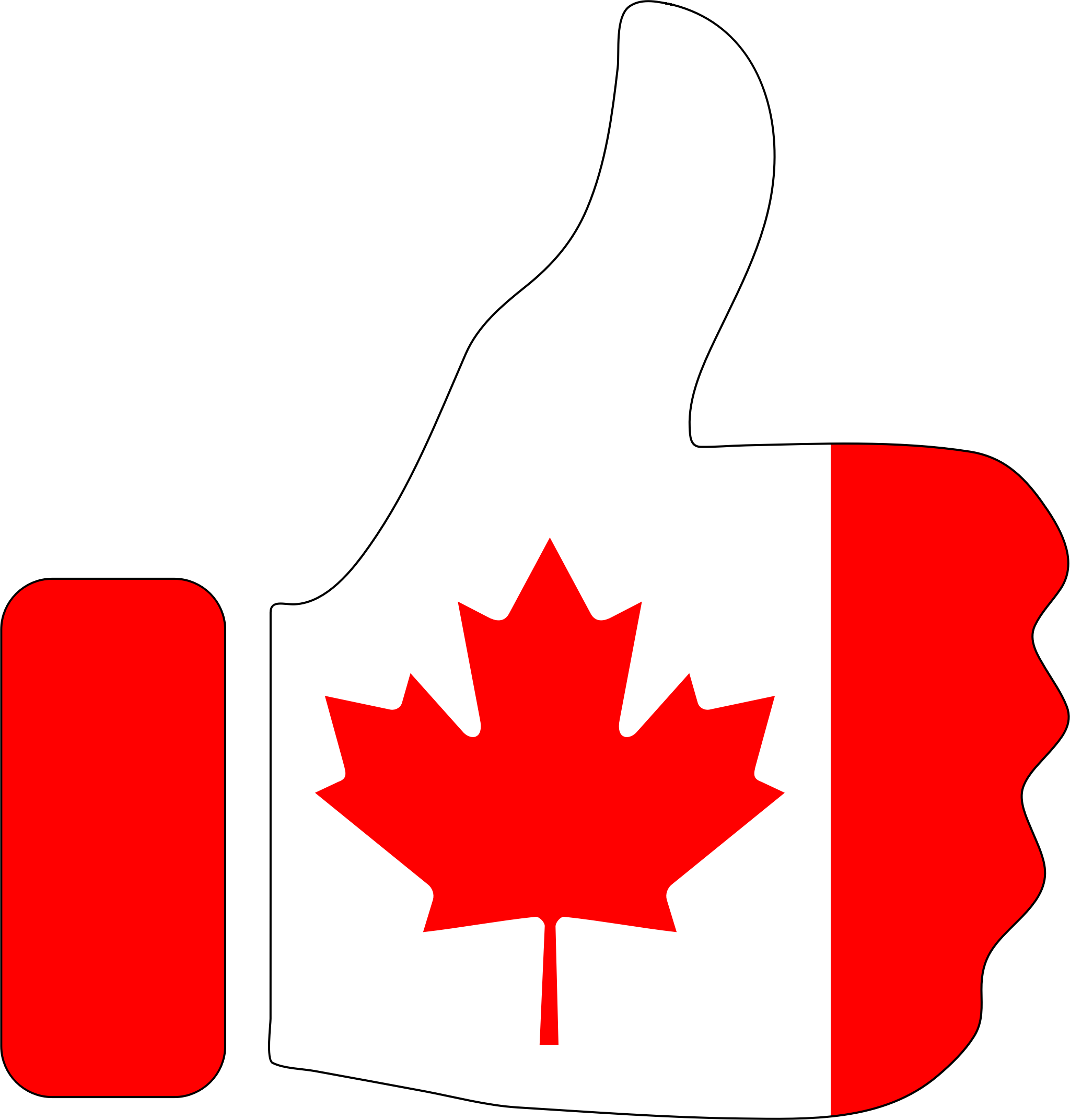 Thumbs Up Canada With Stroke by GDJ
