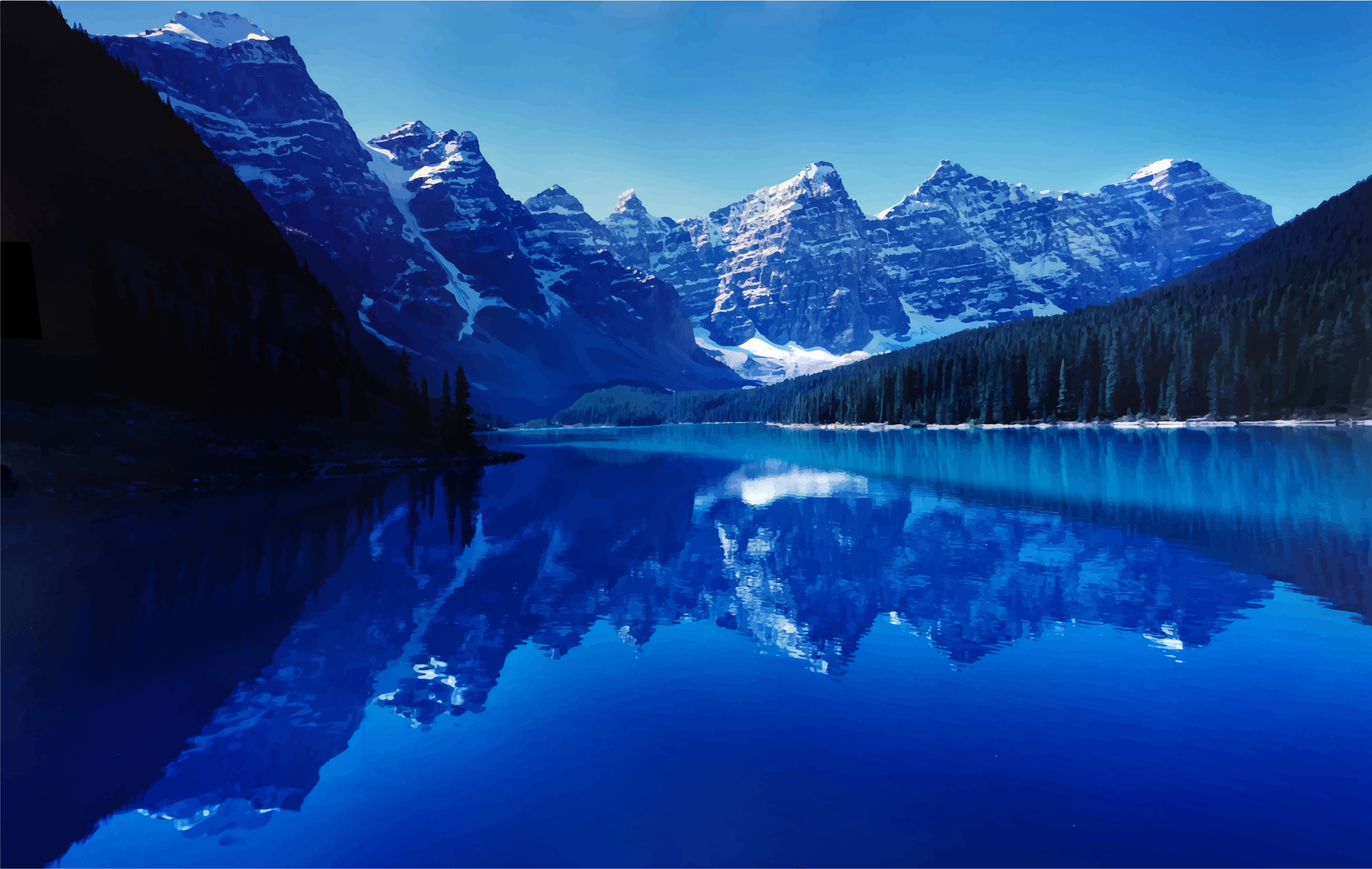 Moraine Lake Alberta Canada At Dusk by GDJ