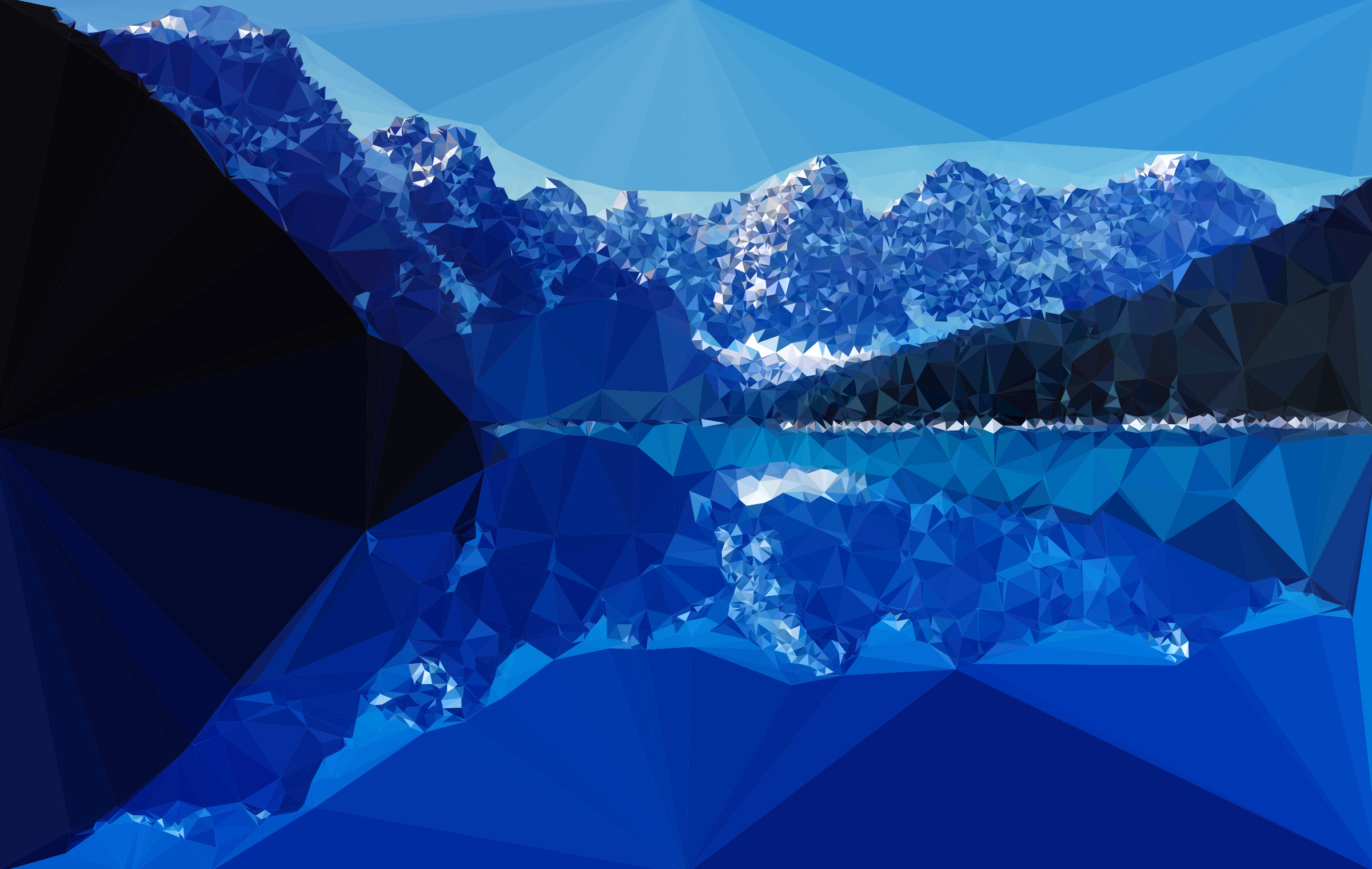 Low Poly Moraine Lake Alberta Canada At Dusk by GDJ