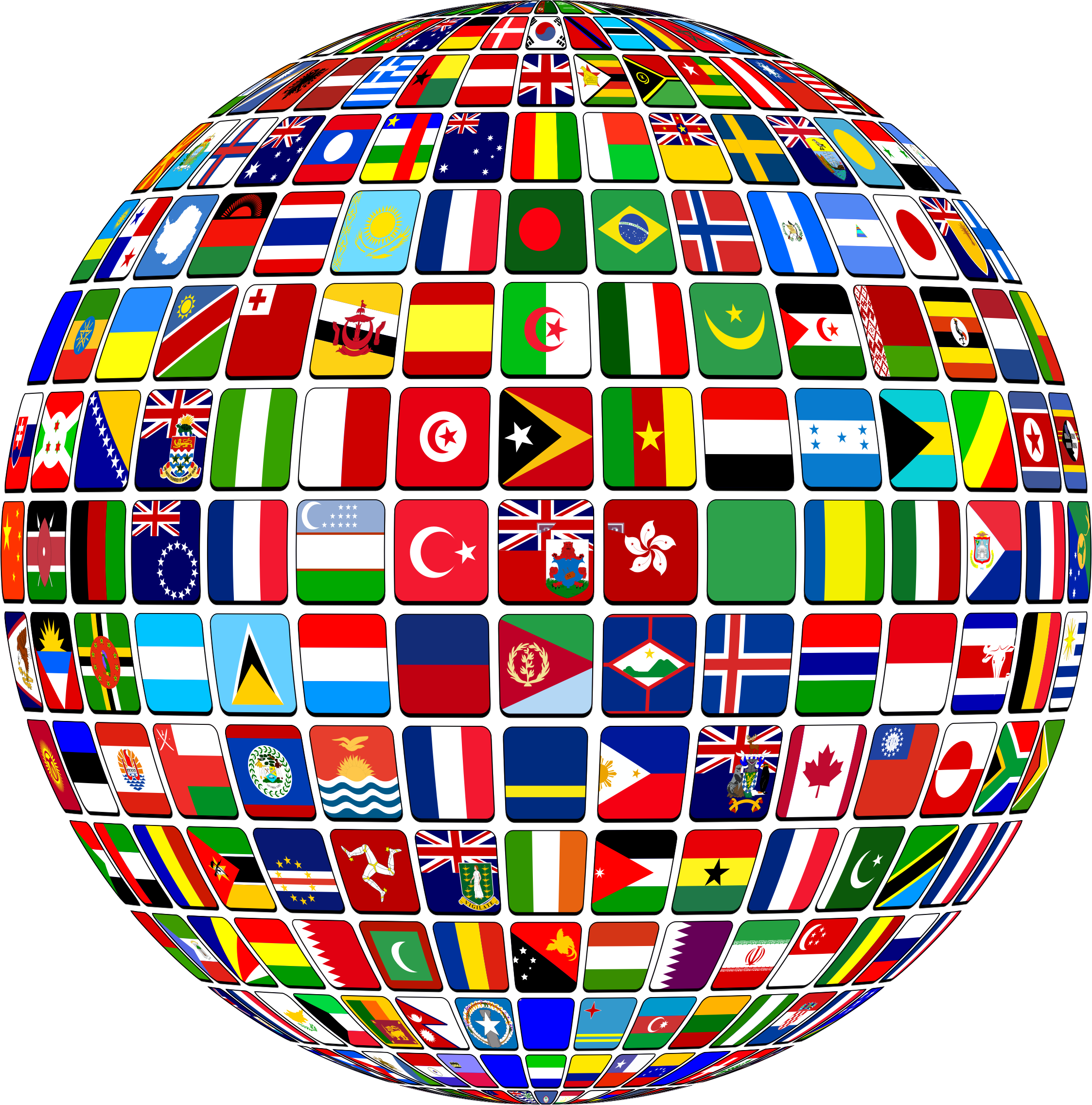 World Flag Buttons Globe by GDJ