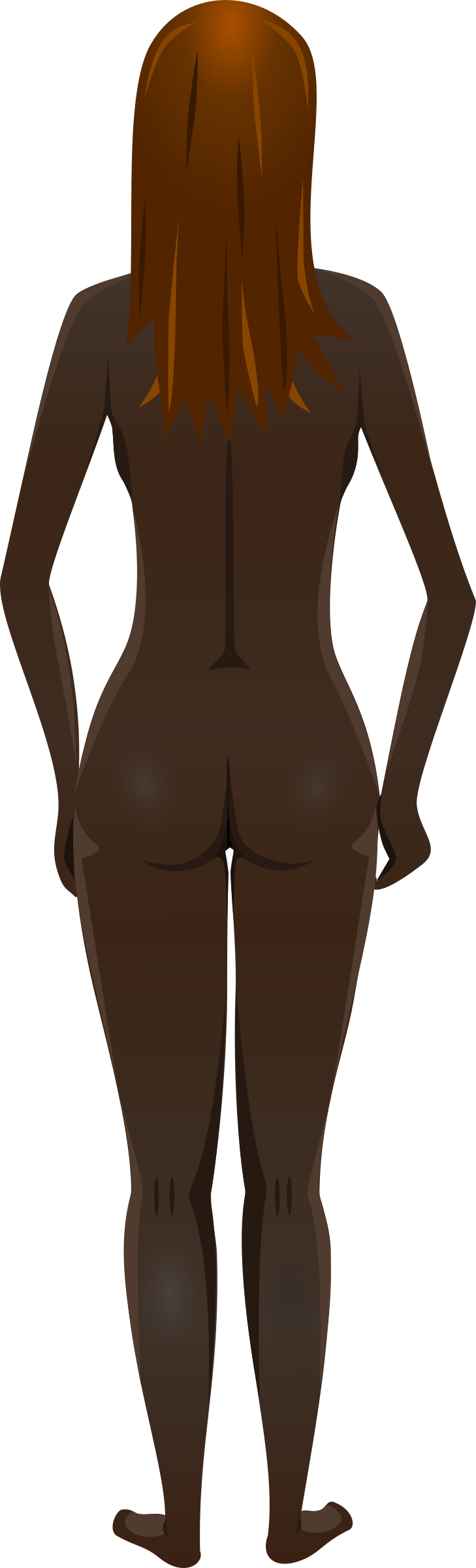 Young lady (dark skin, naked, brown hair) by Firkin