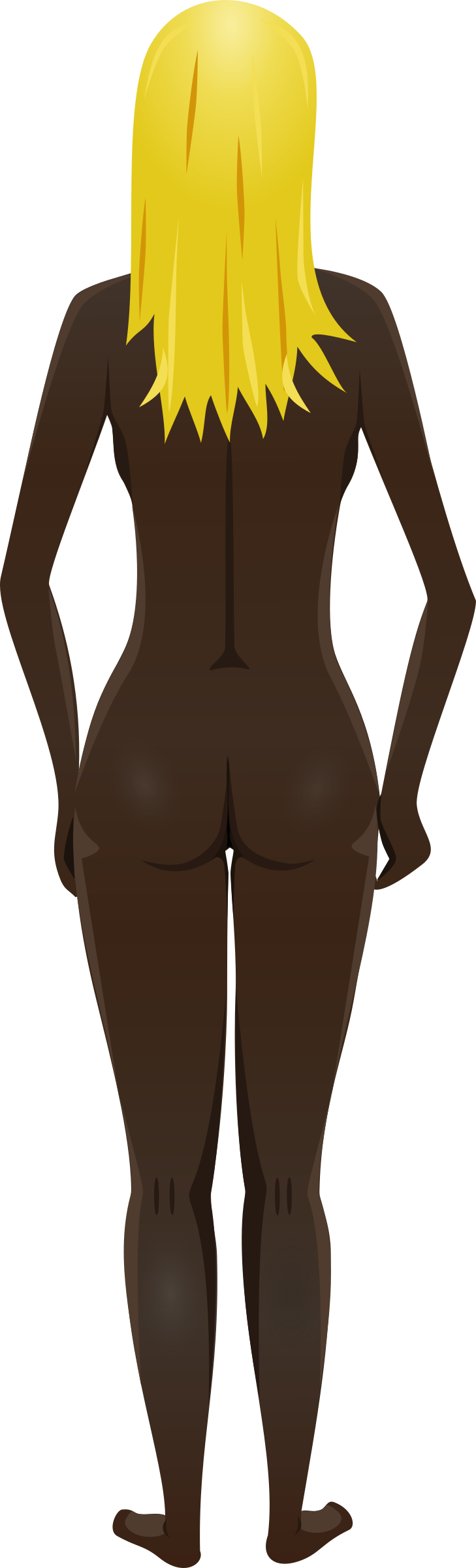 Young lady (dark skin, naked, blonde hair) by Firkin