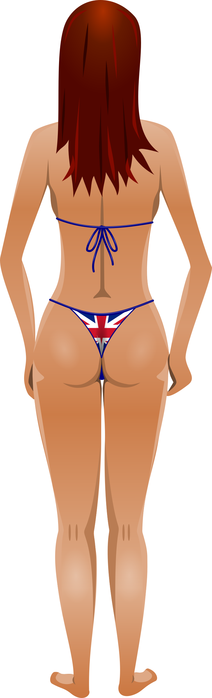 Young lady (light skin, flag bikini, red hair) by Firkin