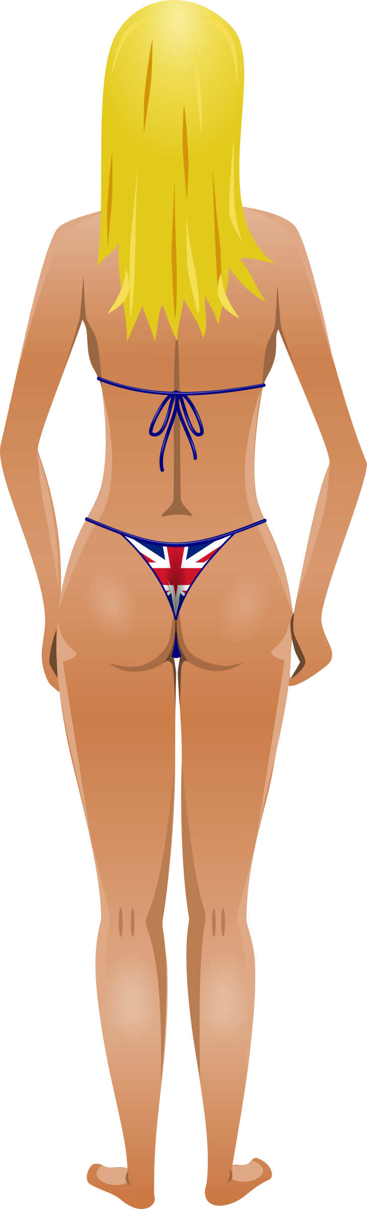 Young lady (light skin, flag bikini, blonde hair) by Firkin