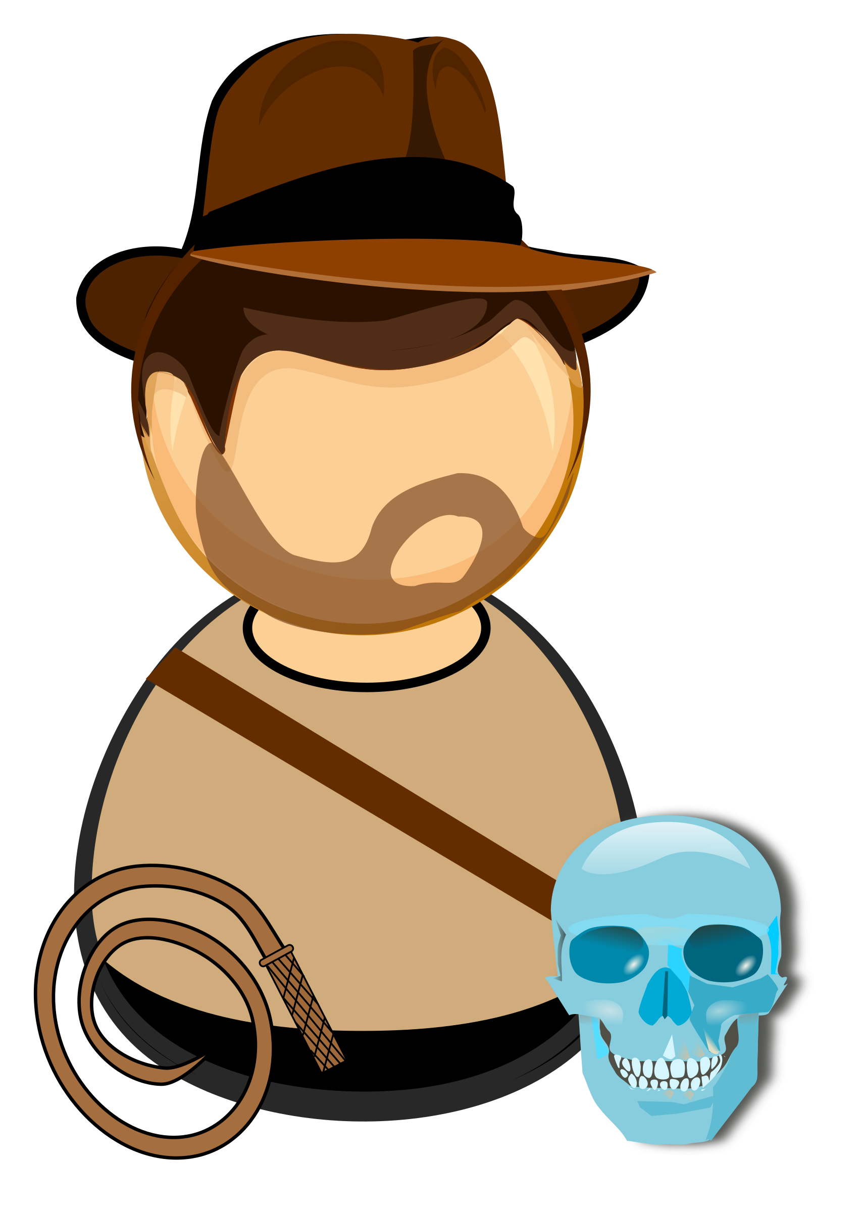 Adventurer in a hat, with a whip and glass skull by Juhele