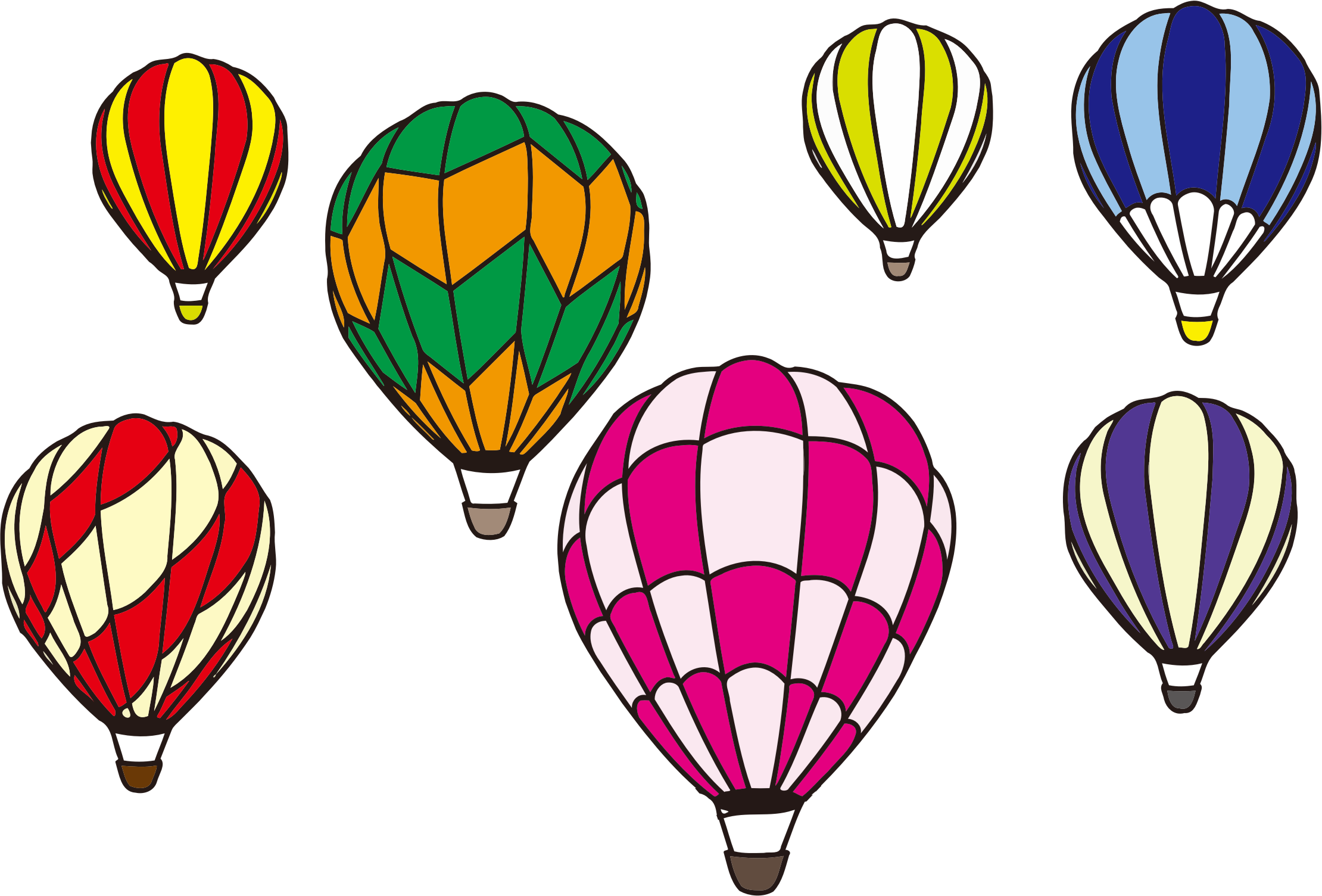 Clipart Hot Air Balloon Scene Minus Background