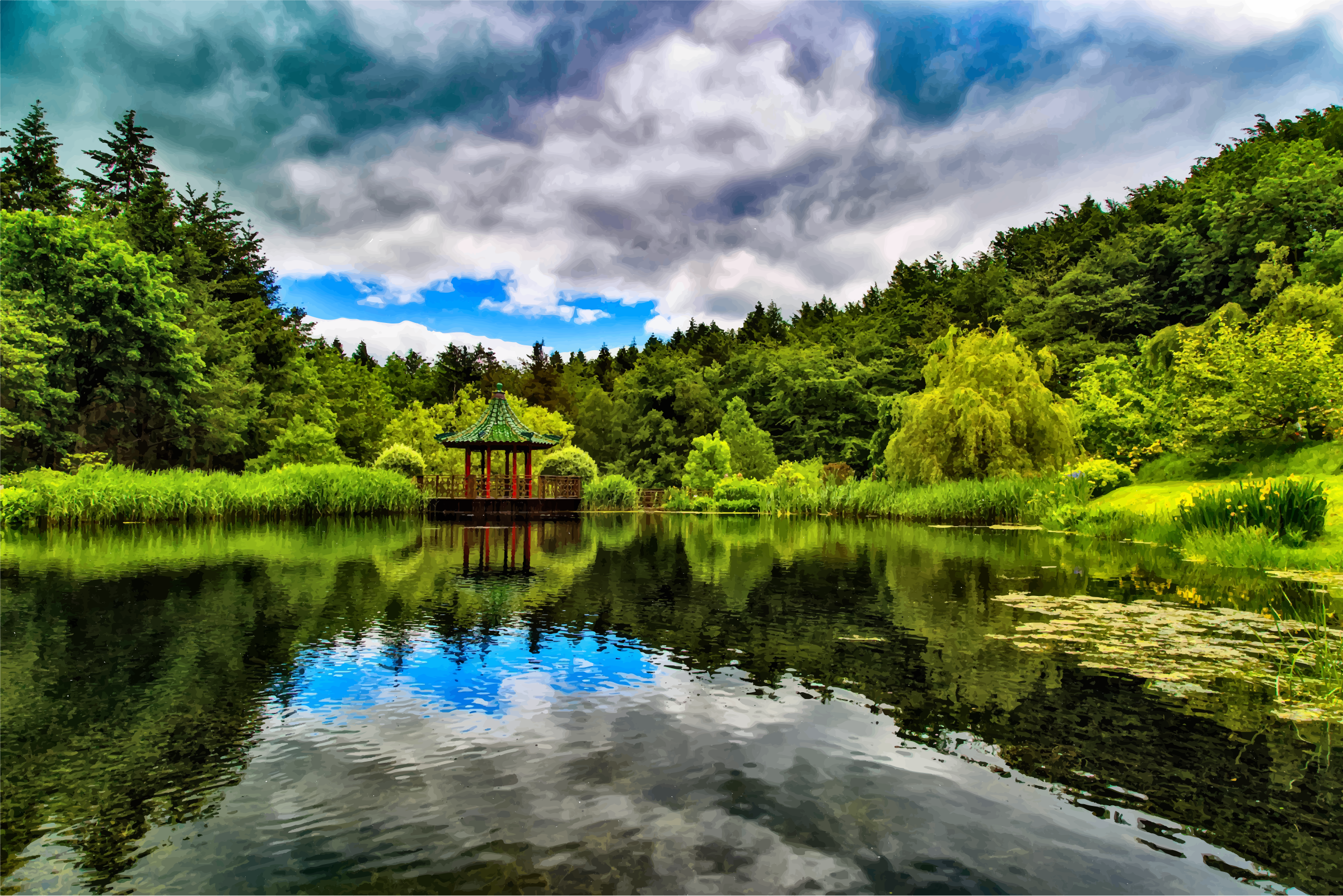 Lush Verdant Chinese Lake by GDJ