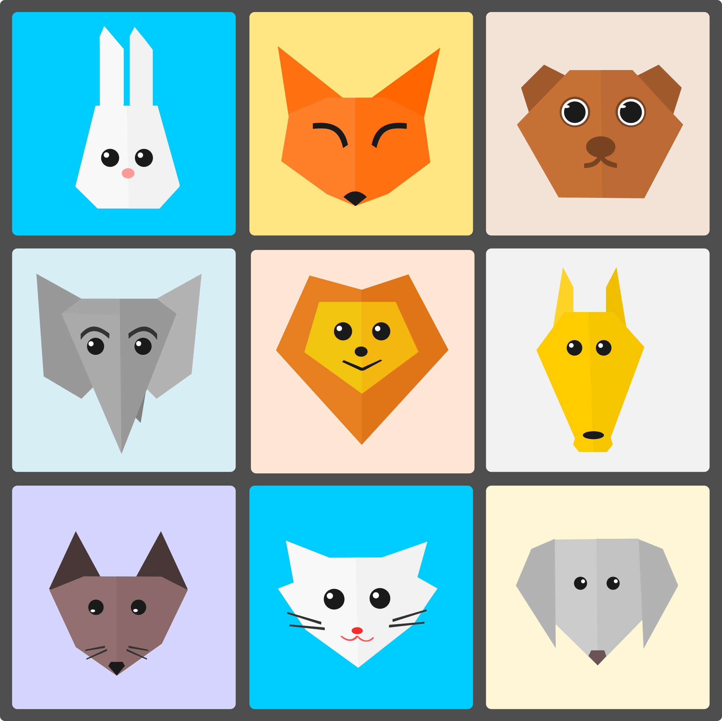 Cute Animals Flat Origami Style by Vexagrafi