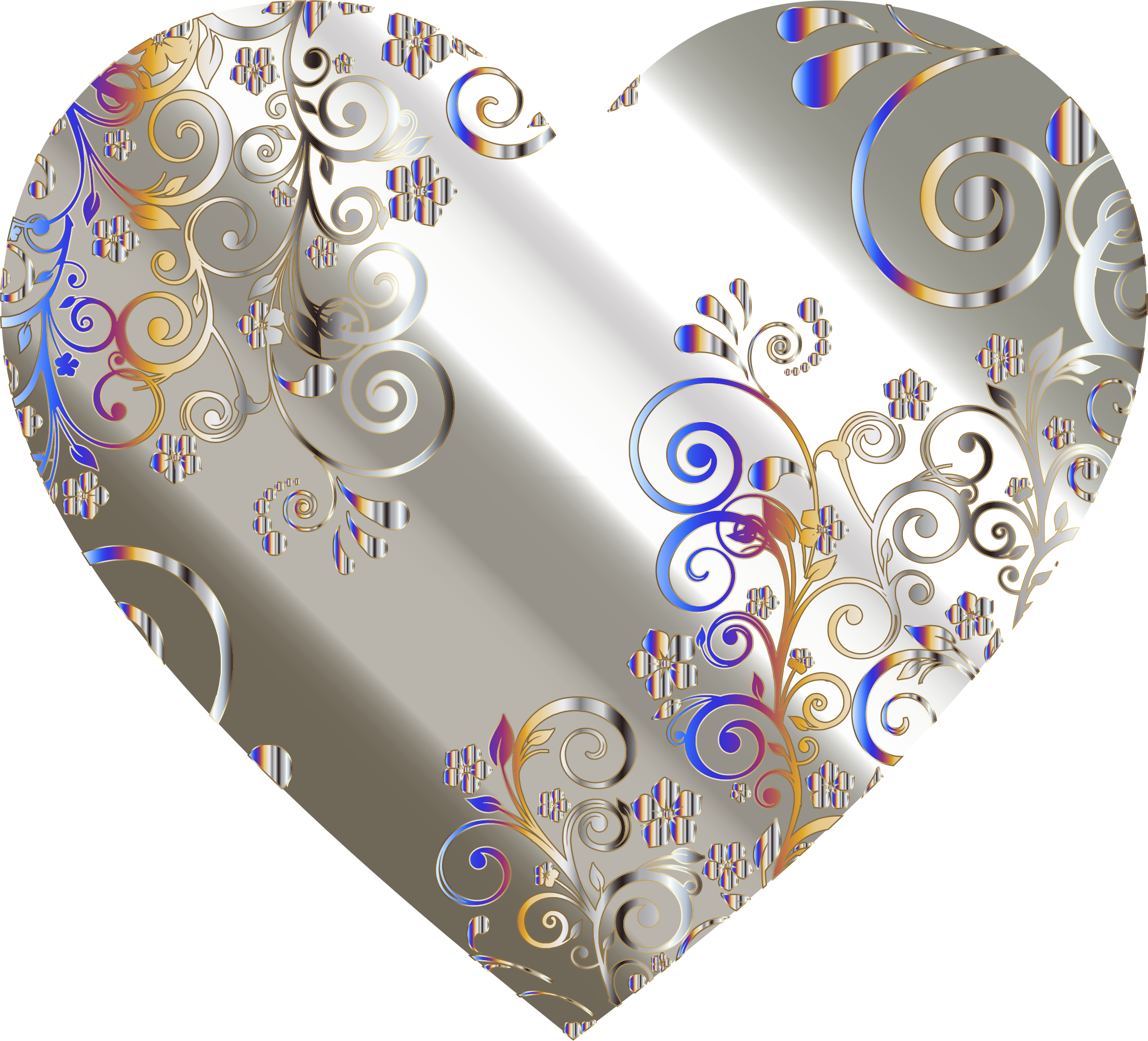 Prismatic Floral Flourish Heart 8 by GDJ