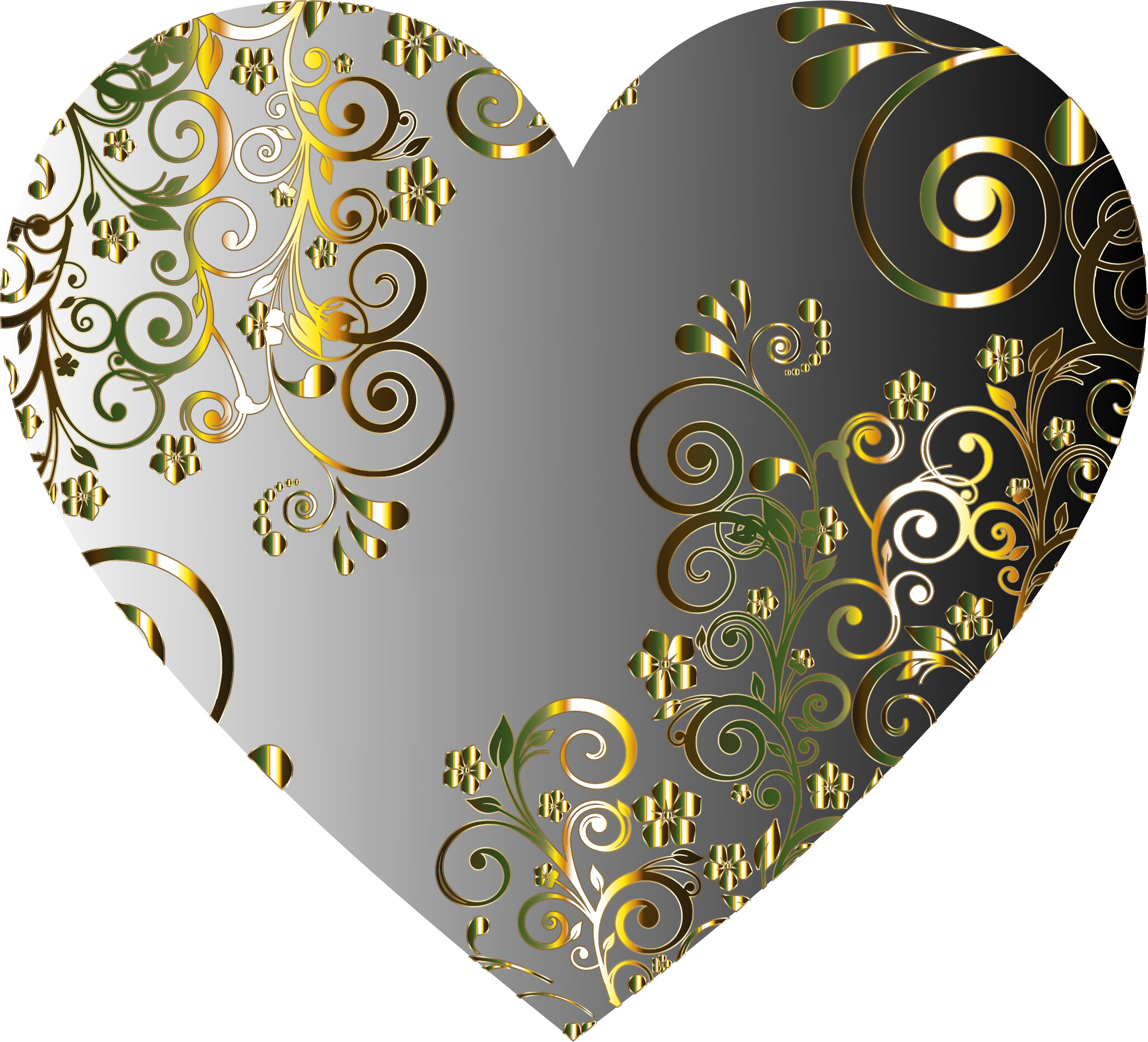 Prismatic Floral Flourish Heart 9 by GDJ